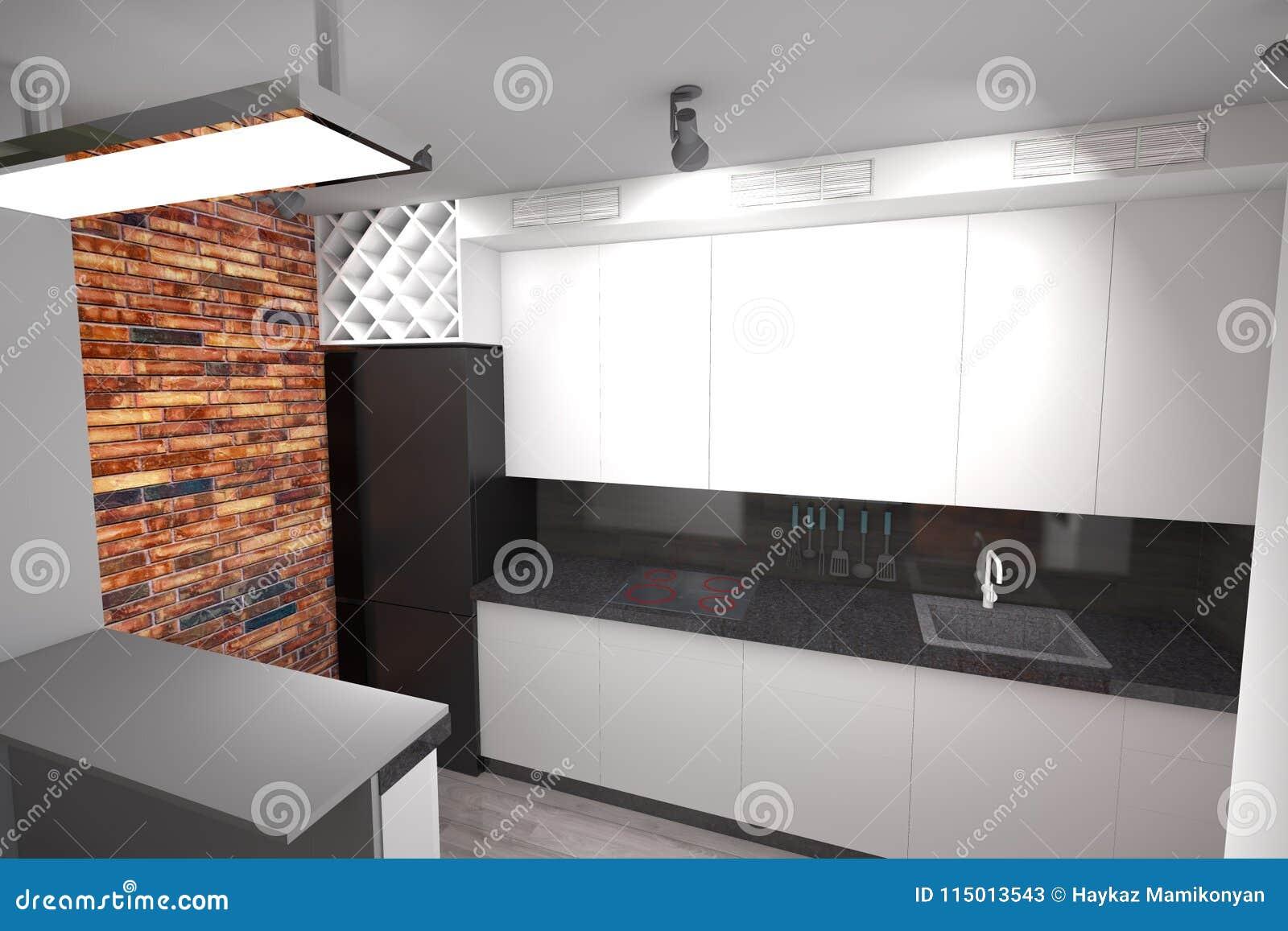Cocina Moderna Del Diseño 3D Stock de ilustración - Ilustración de ...