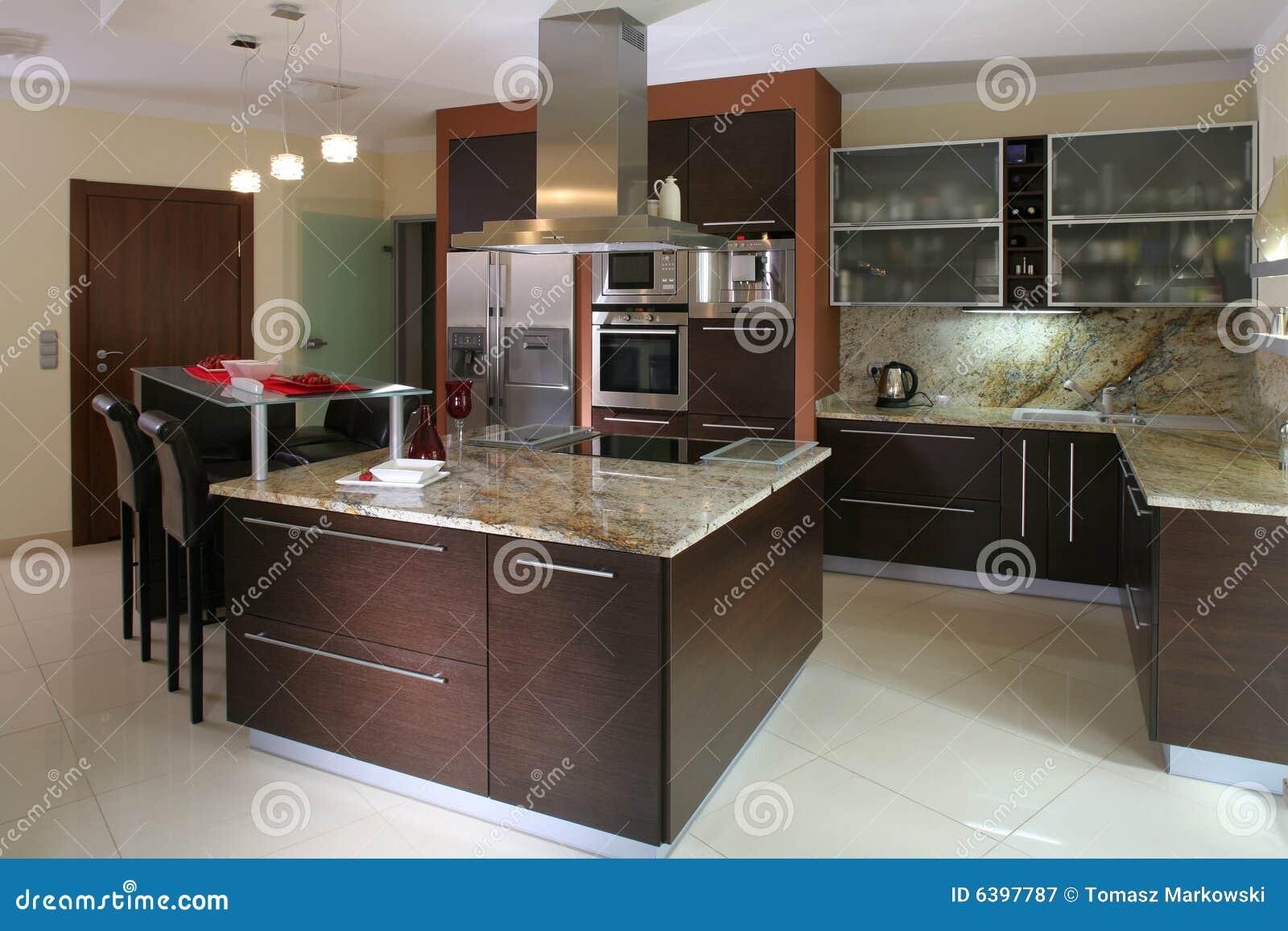 Cocina moderna lujosa fotograf a de archivo libre de - Interiores cocinas modernas ...