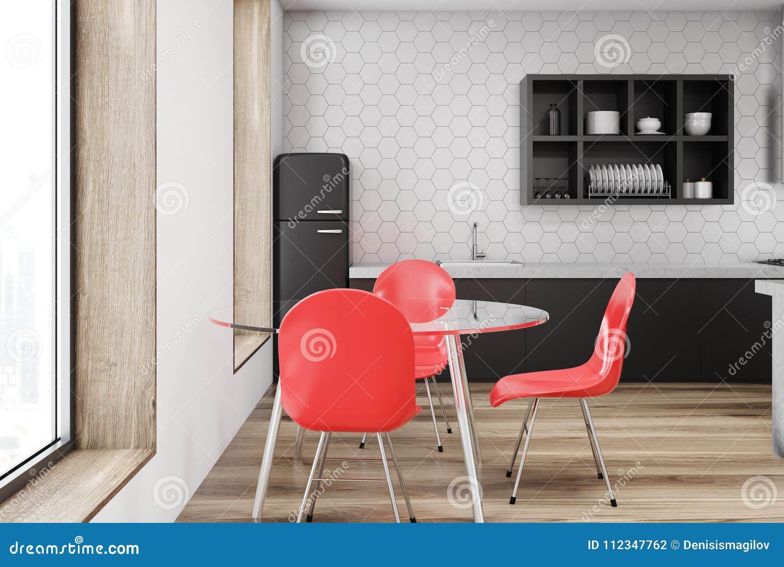 Cocina Roja Interior, Pared Blanca De La Silla Stock de ilustración ...