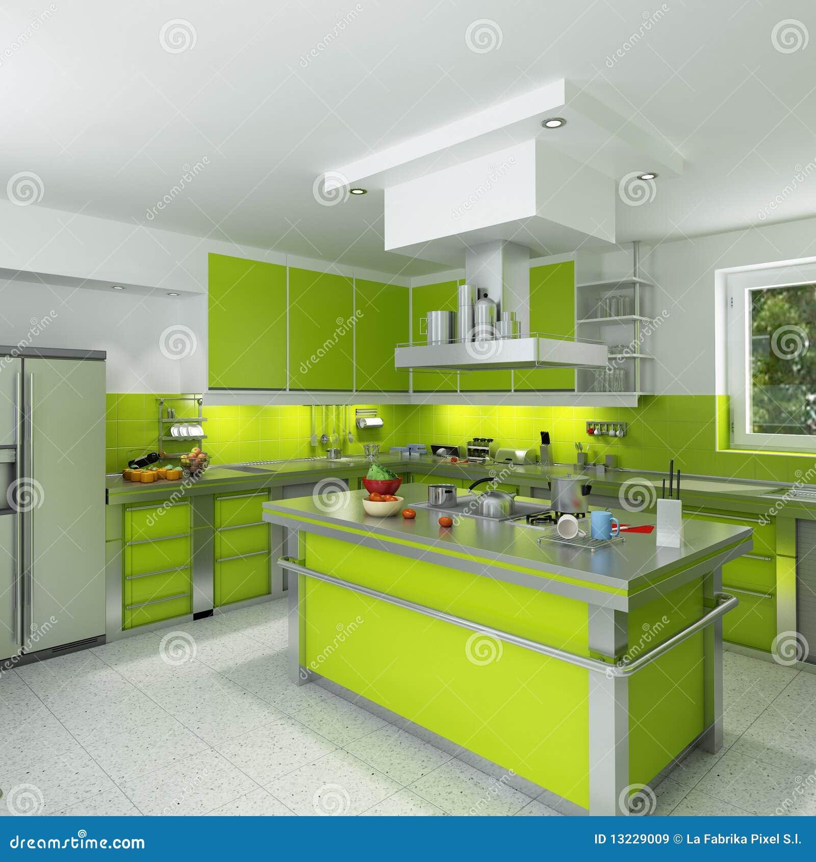 Cocina verde moderna im genes de archivo libres de for Cocinas verdes modernas