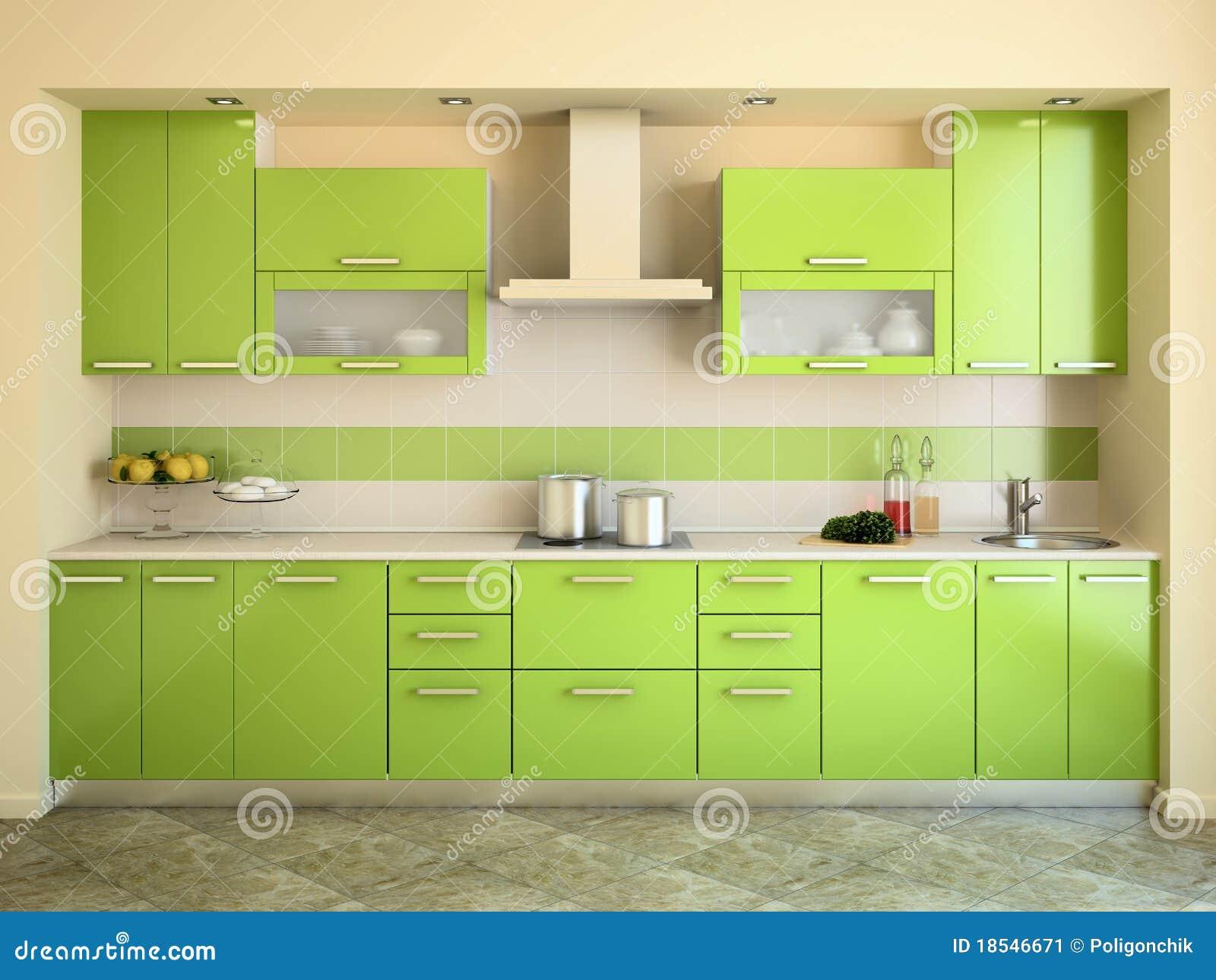 Cocina verde moderna imagen de archivo imagen 18546671 for Interior cocinas modernas