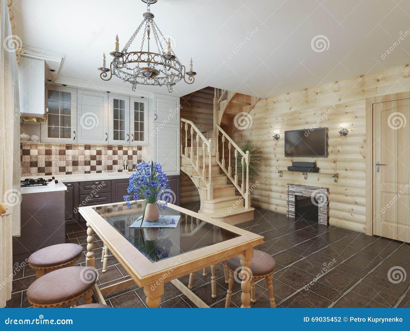 Cocina Y Comedor En Una Escalera Interior Del Registro Al Secon ...