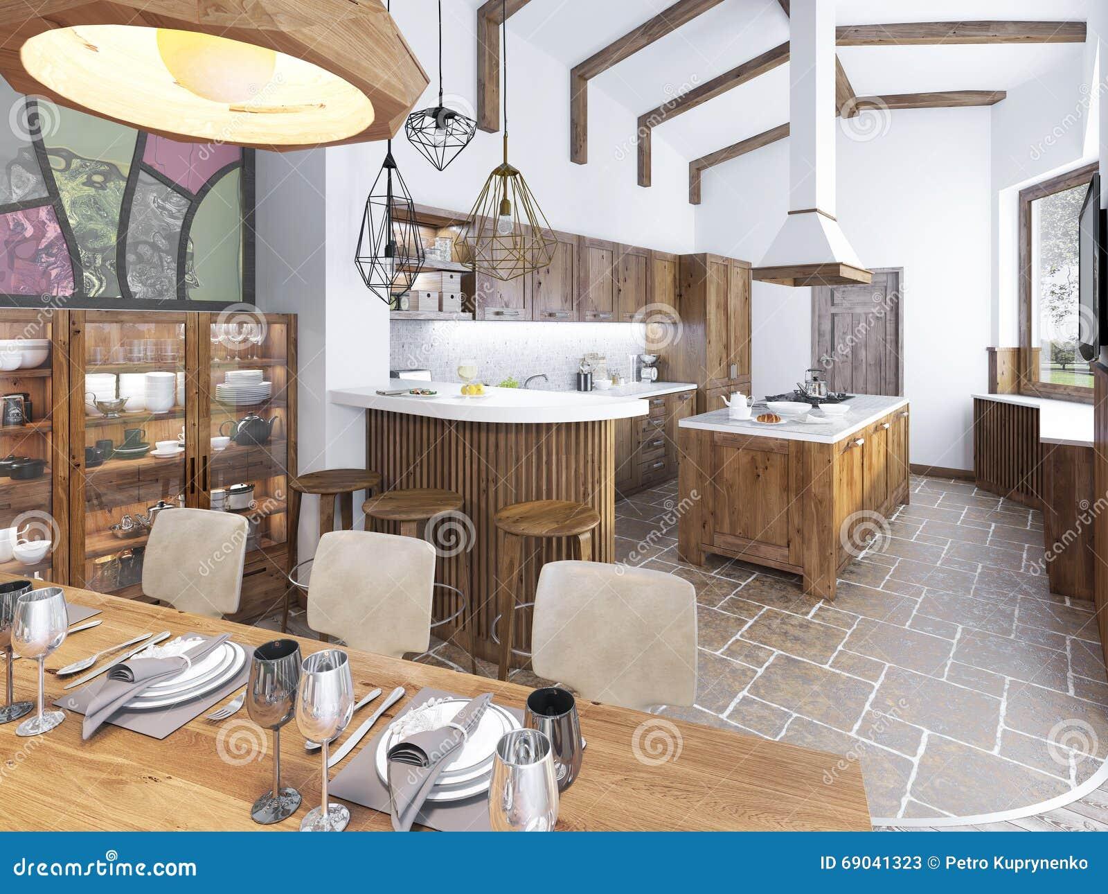 Cocina y comedor modernos en el desv n foto de archivo for Comedor tapizado moderno