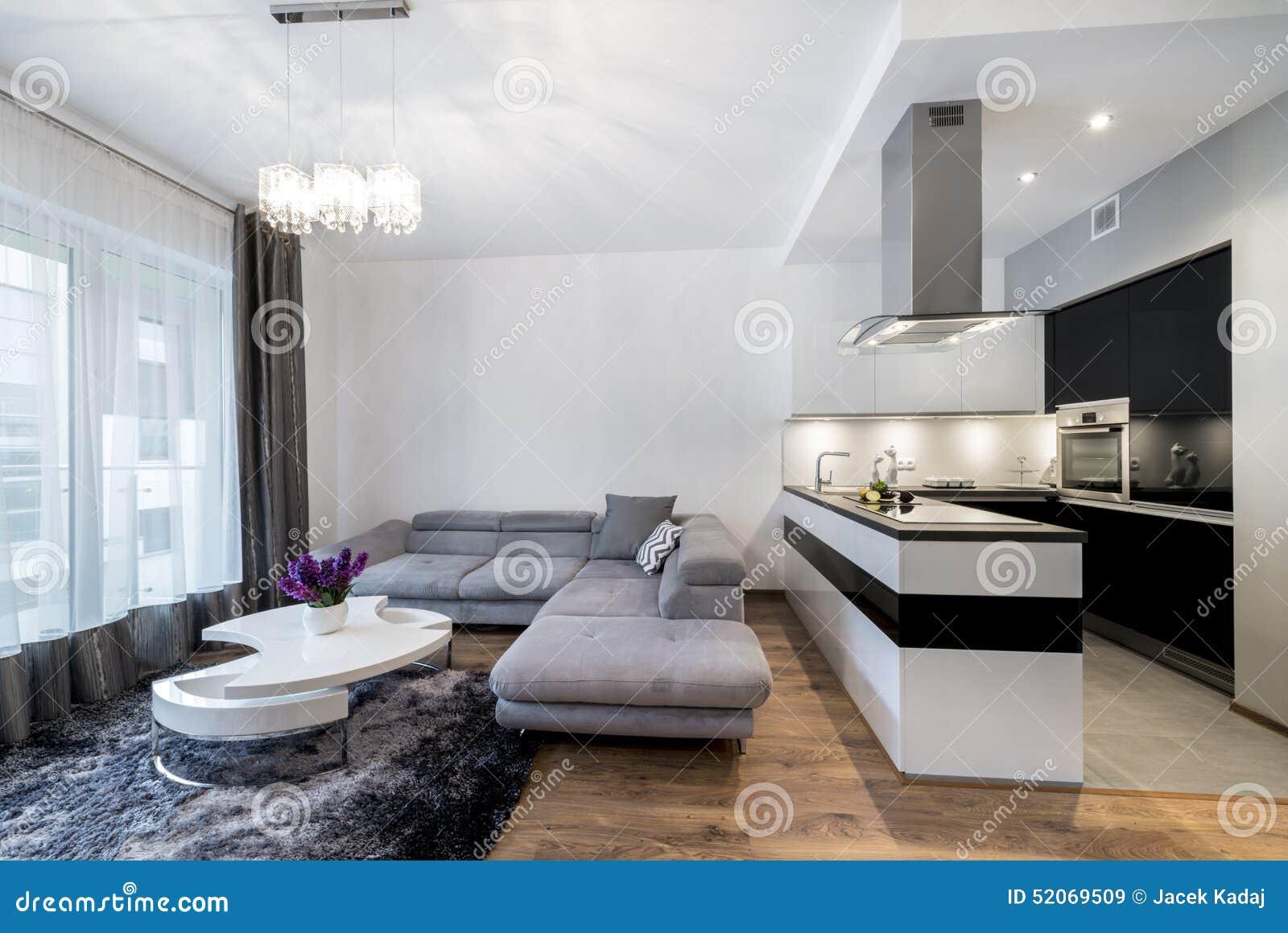 Cocina y sala de estar en hogar de lujo foto de archivo for Sala de estar y cocina