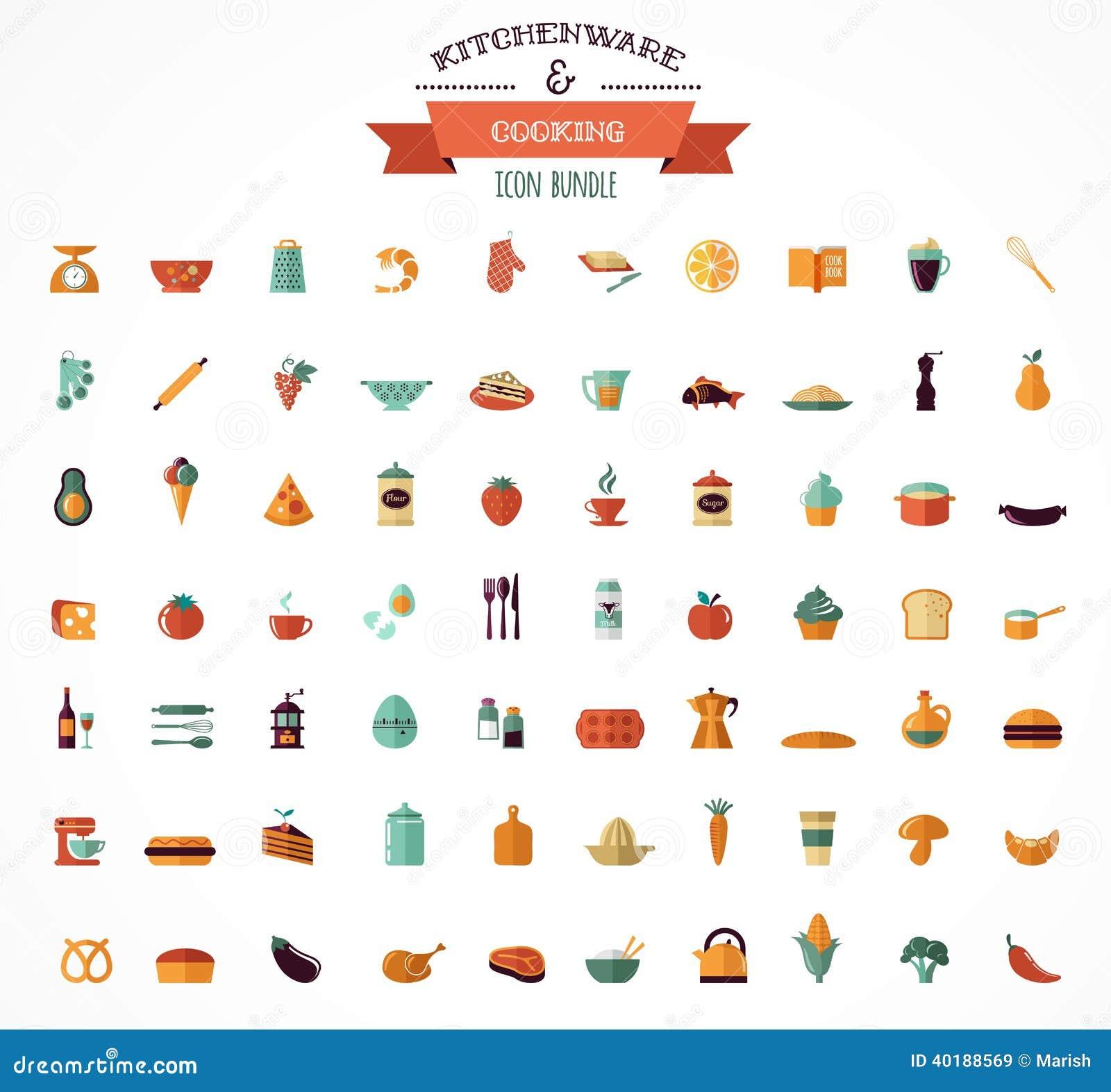 Cocinando Y Apoyando Los Iconos Planos Elementos Del