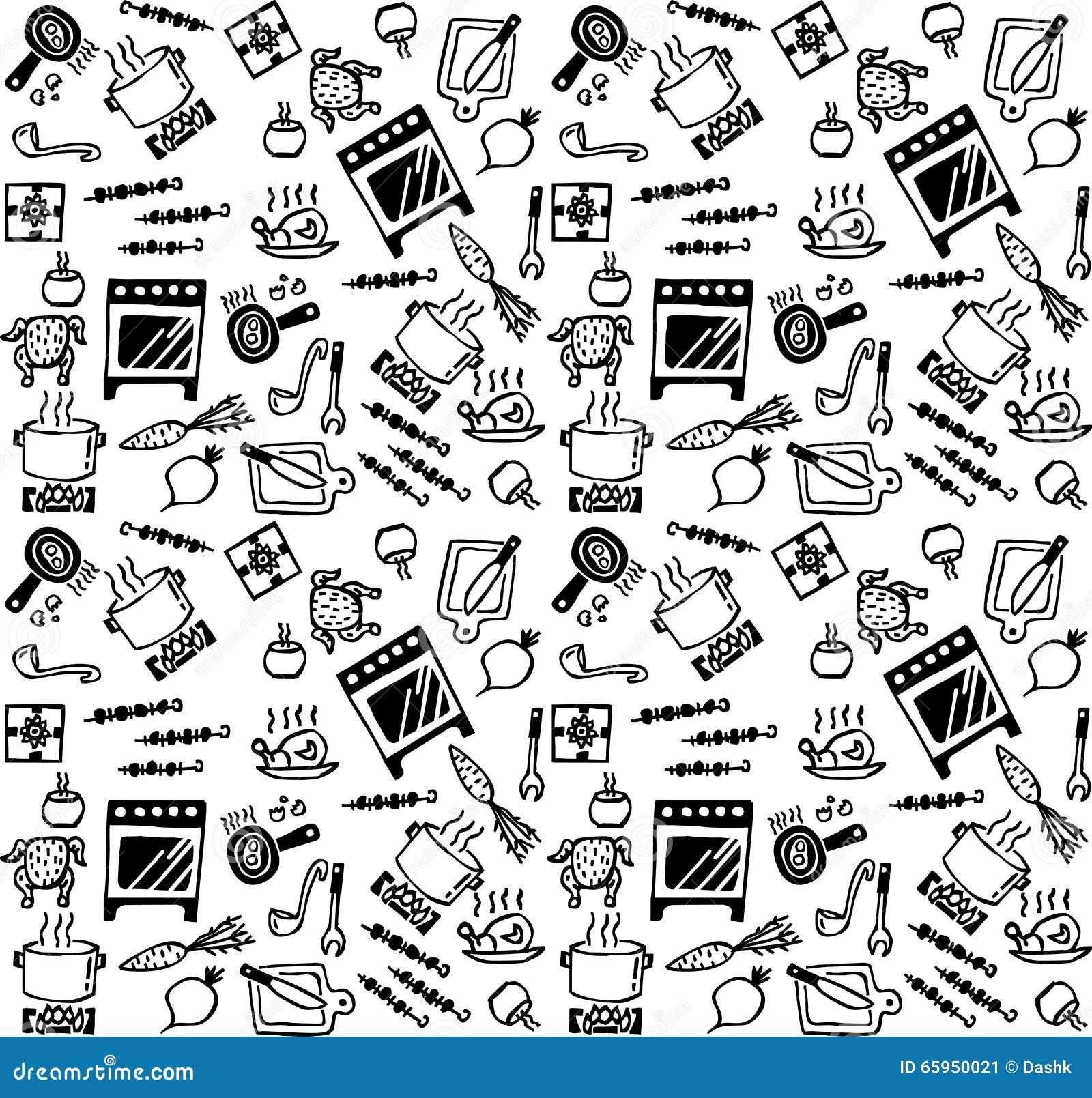 Cocinar el modelo incons til blanco y negro de los iconos for Objetos para cocinar
