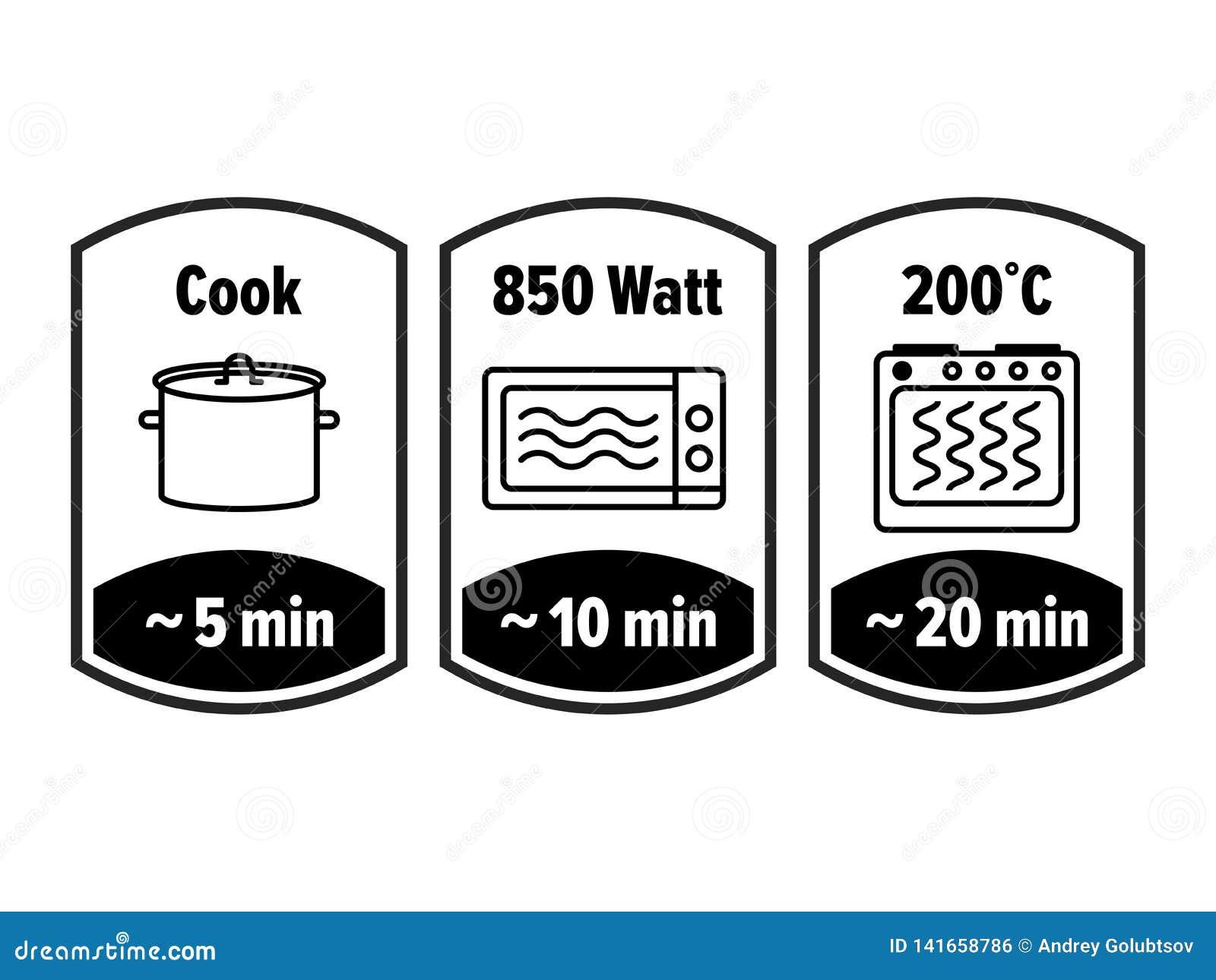 Cocine el icono del vector de los minutos minutos que cocinan en el cazo de ebullición, el vatio y la temperatura de la cocina de