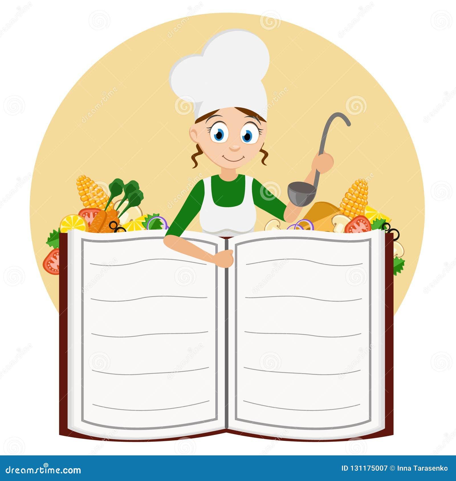 Cocine a la muchacha con una cucharón en sus manos que miran a escondidas hacia fuera de detrás un libro