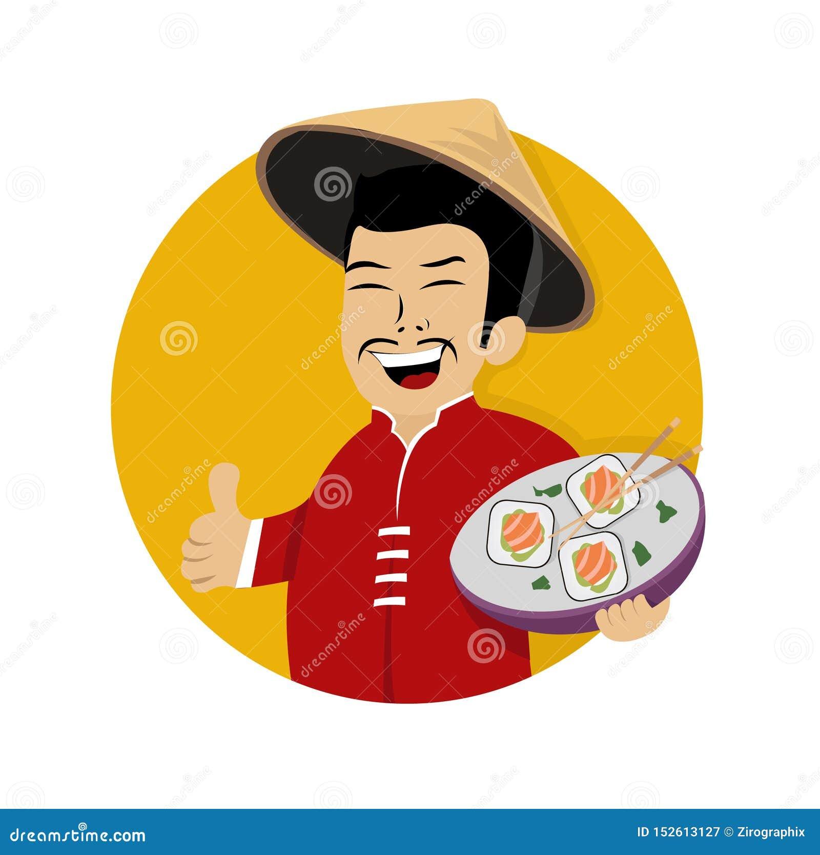 Cocinero asiático de risa con el sushi a disposición