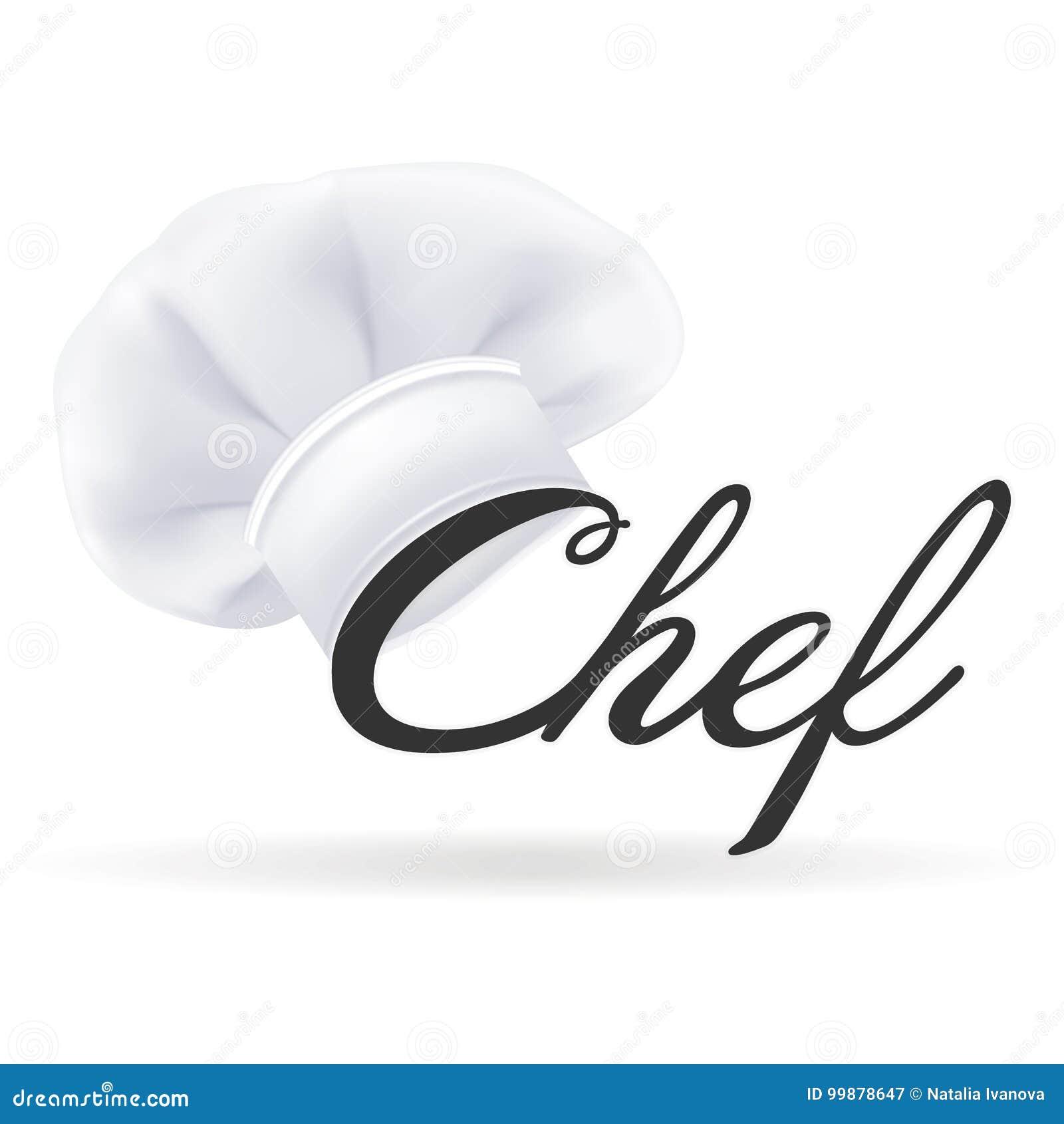 Cocinero blanco moderno fotorrealista Hat Sombrero de los cocineros aislado en un fondo blanco Ilustración del vector