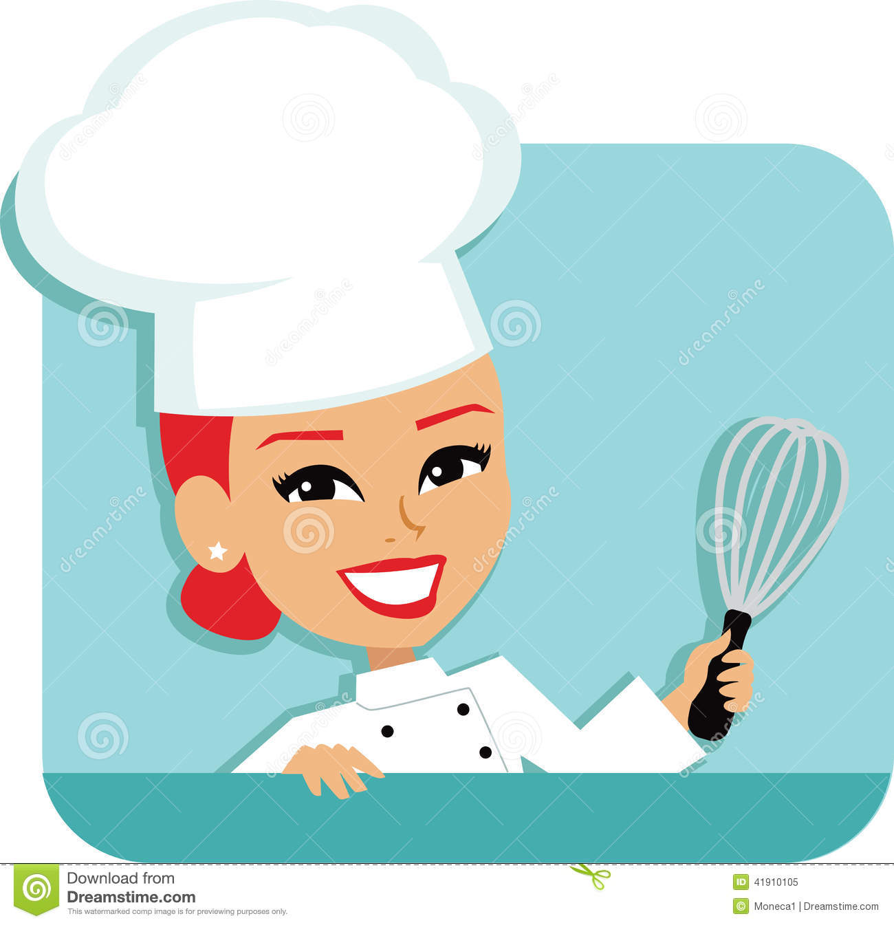 Cocinero Cartoon Baking Illustration de la mujer