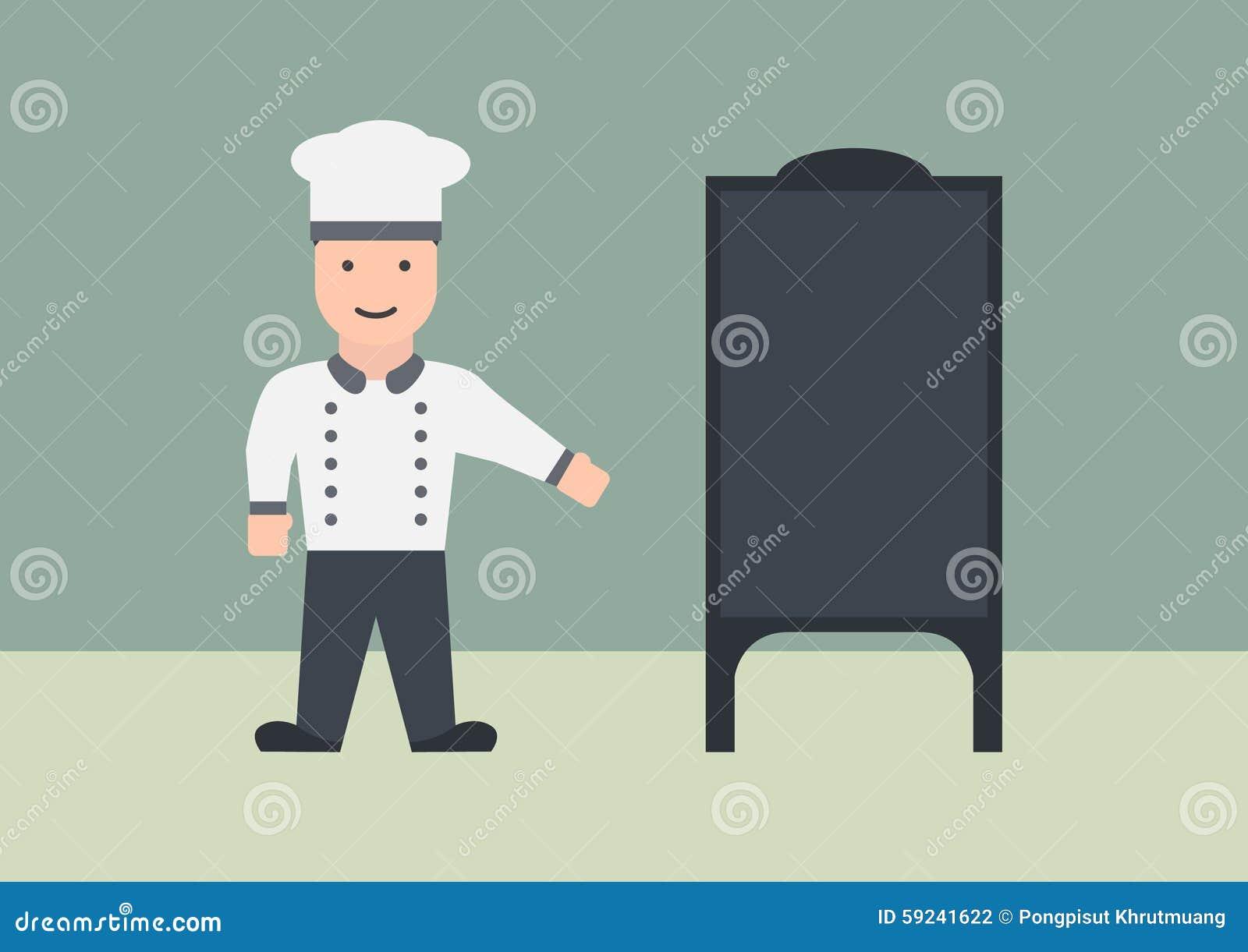 Cocinero con el gráfico plano del tablero del menú
