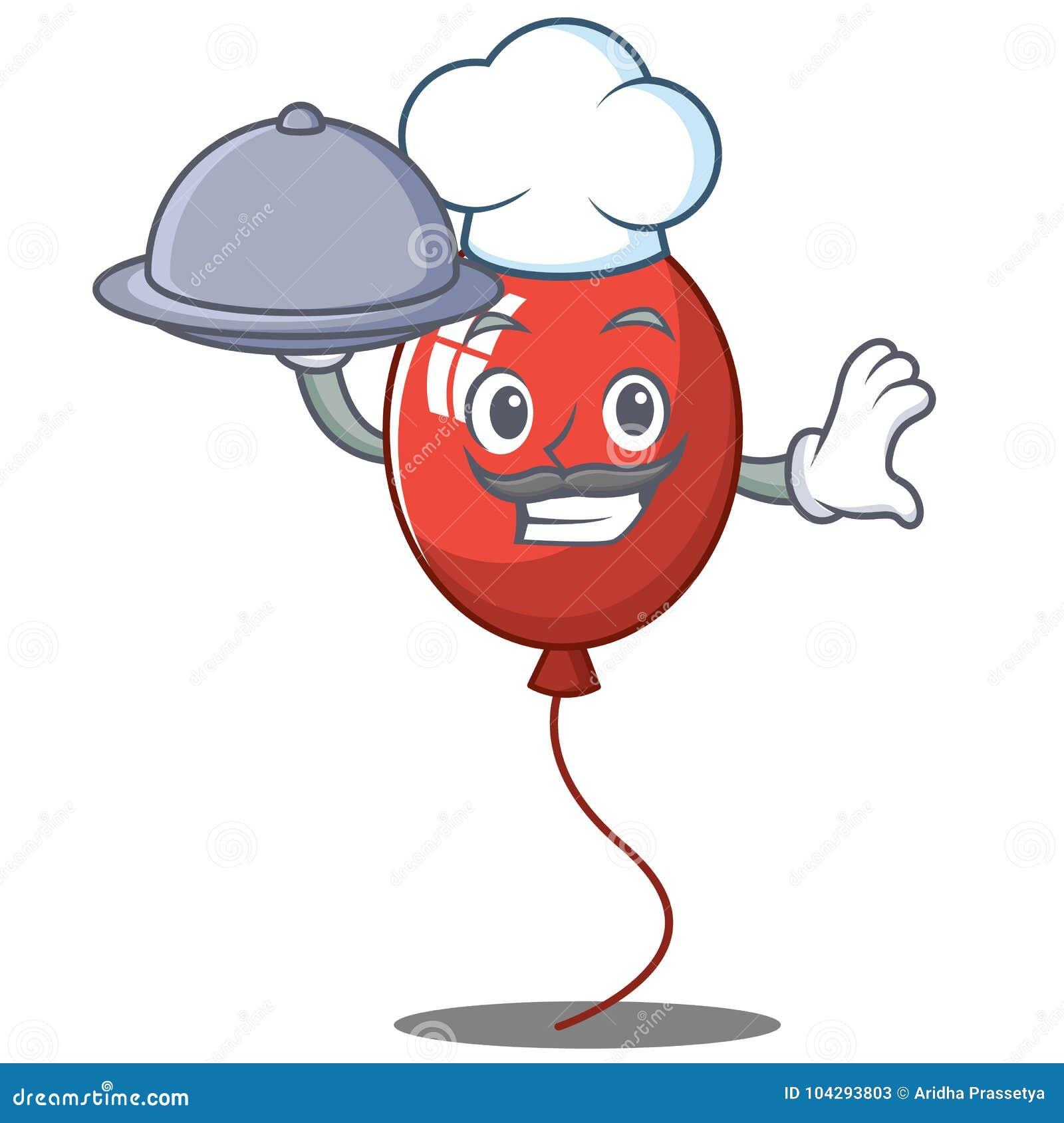 Cocinero con estilo de la historieta del carácter del globo de la comida