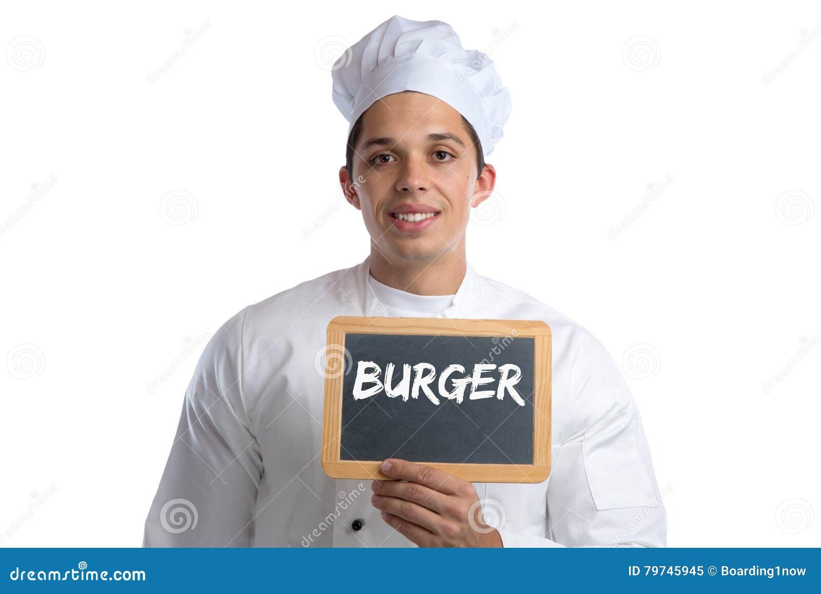 Cocinero de los alimentos de preparación rápida de la hamburguesa de la hamburguesa que cocina al tablero aislado