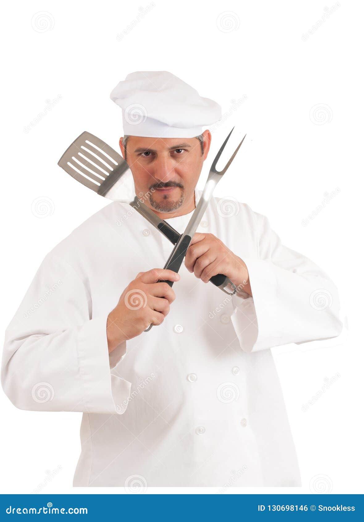 Cocinero en el fondo blanco