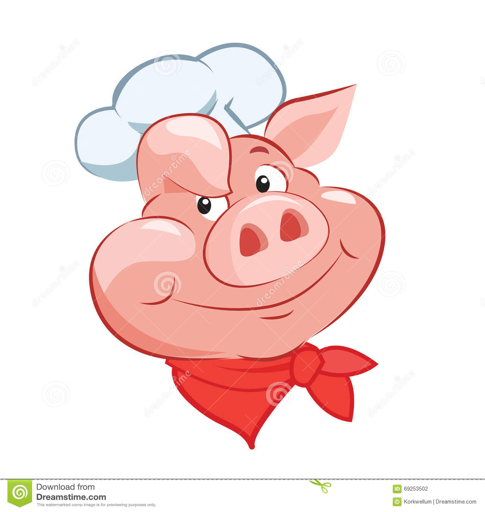 Cocinero feliz Head del cerdo Ilustración del vector de la historieta Cocinero Hat del cerdo Cocinero Toy del cerdo