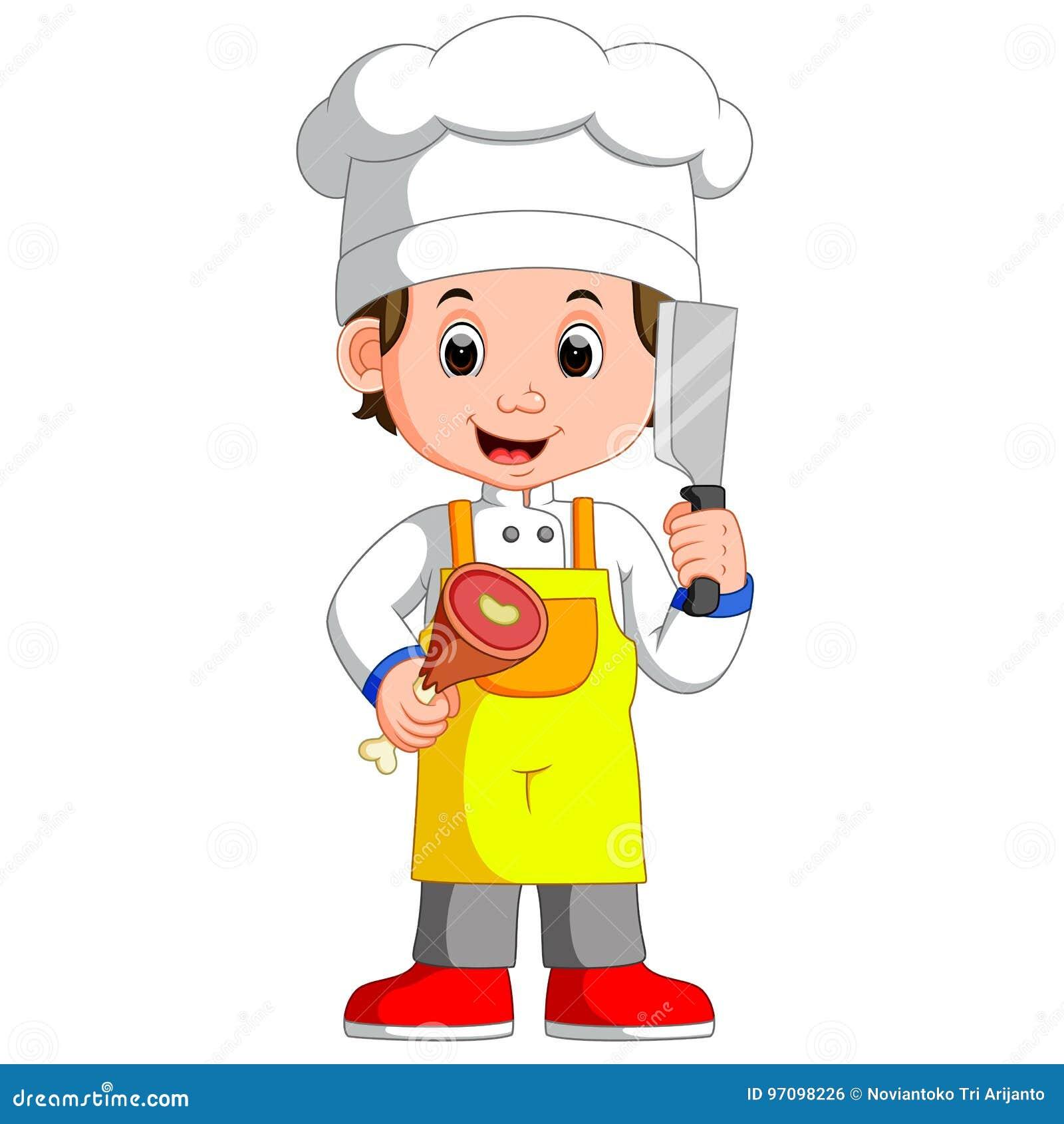Cocinero Holding Cleaver Knife del cocinero e historieta sonriente de la carne