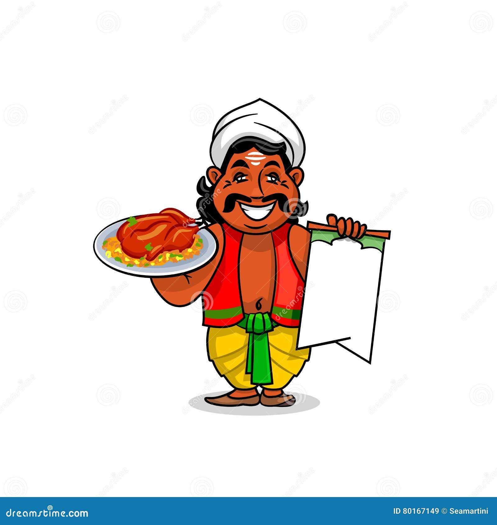 Cocinero indio con arroz de curry del menú y del pollo