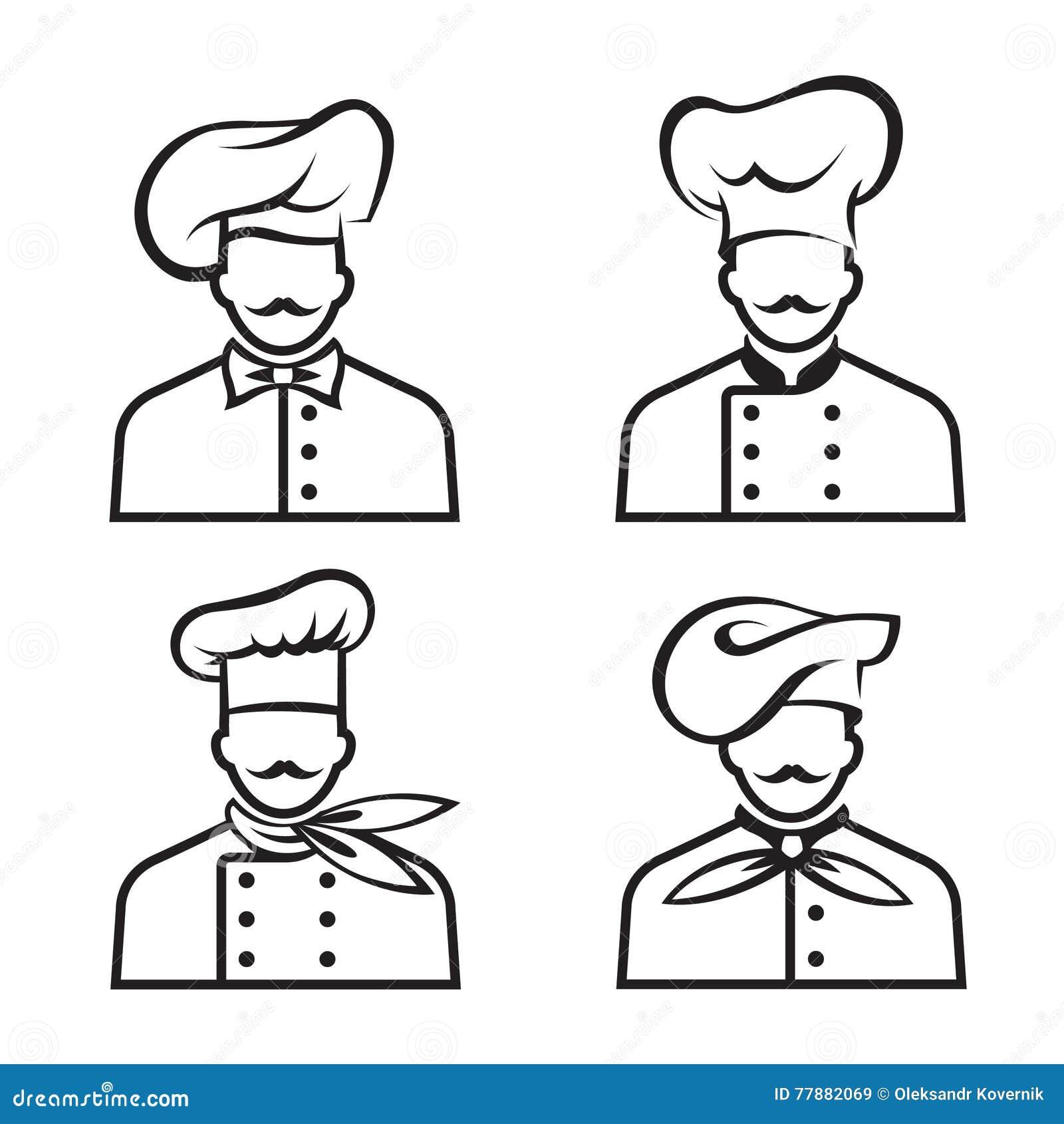 Cocineros Mustachioed Fijados Ilustración del Vector