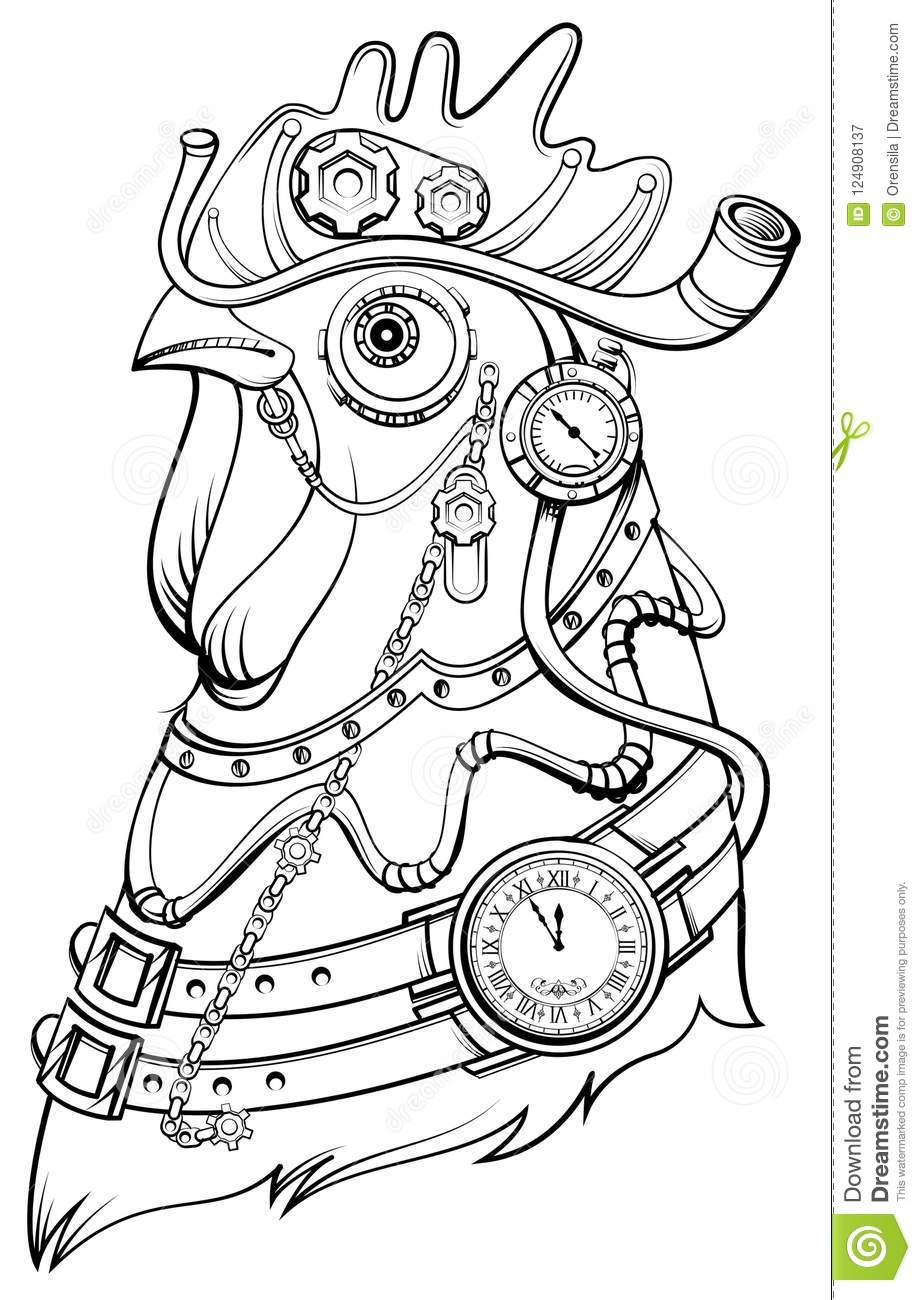 Head Steampunk Style Symbol Of Time Coloring Book Stock Vector