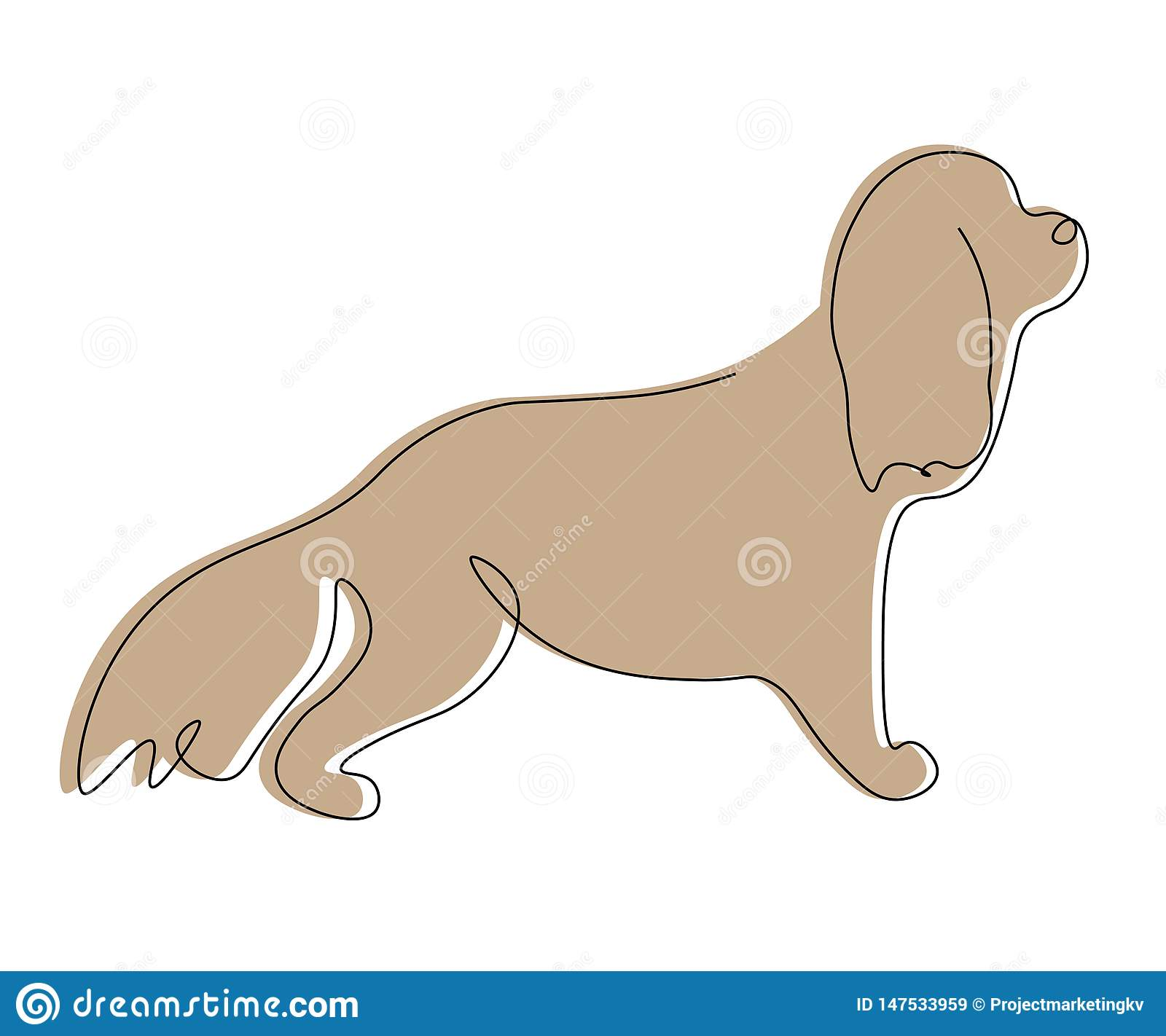 Cocker Spaniel Puppy Line Drawing Vector Illustration Stock Vector Illustration Of Domestic Outline 147533959
