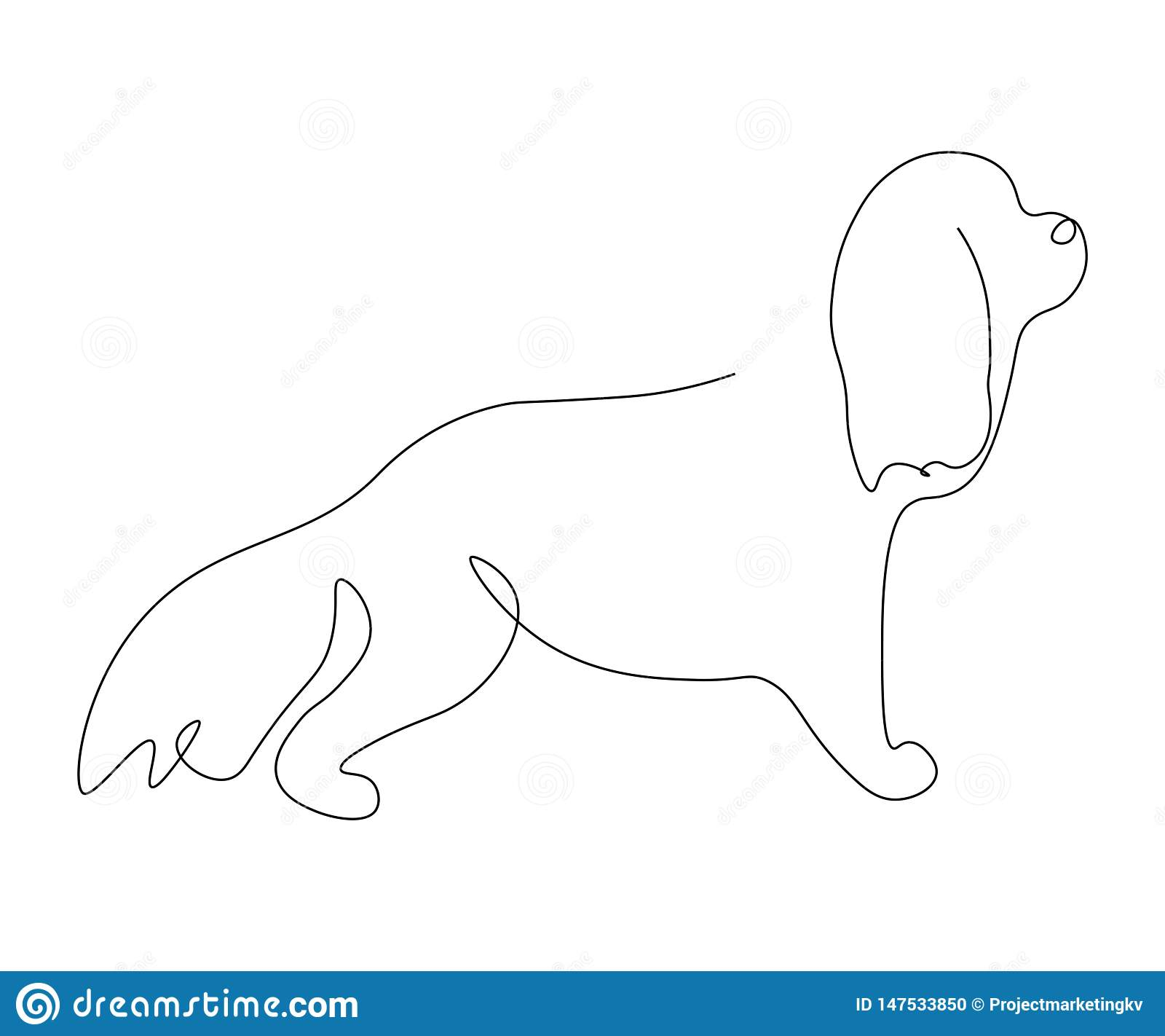 Cocker Spaniel Puppy Silhouette Line Drawing Vector Illustration Stock Vector Illustration Of Vector Logo 147533850