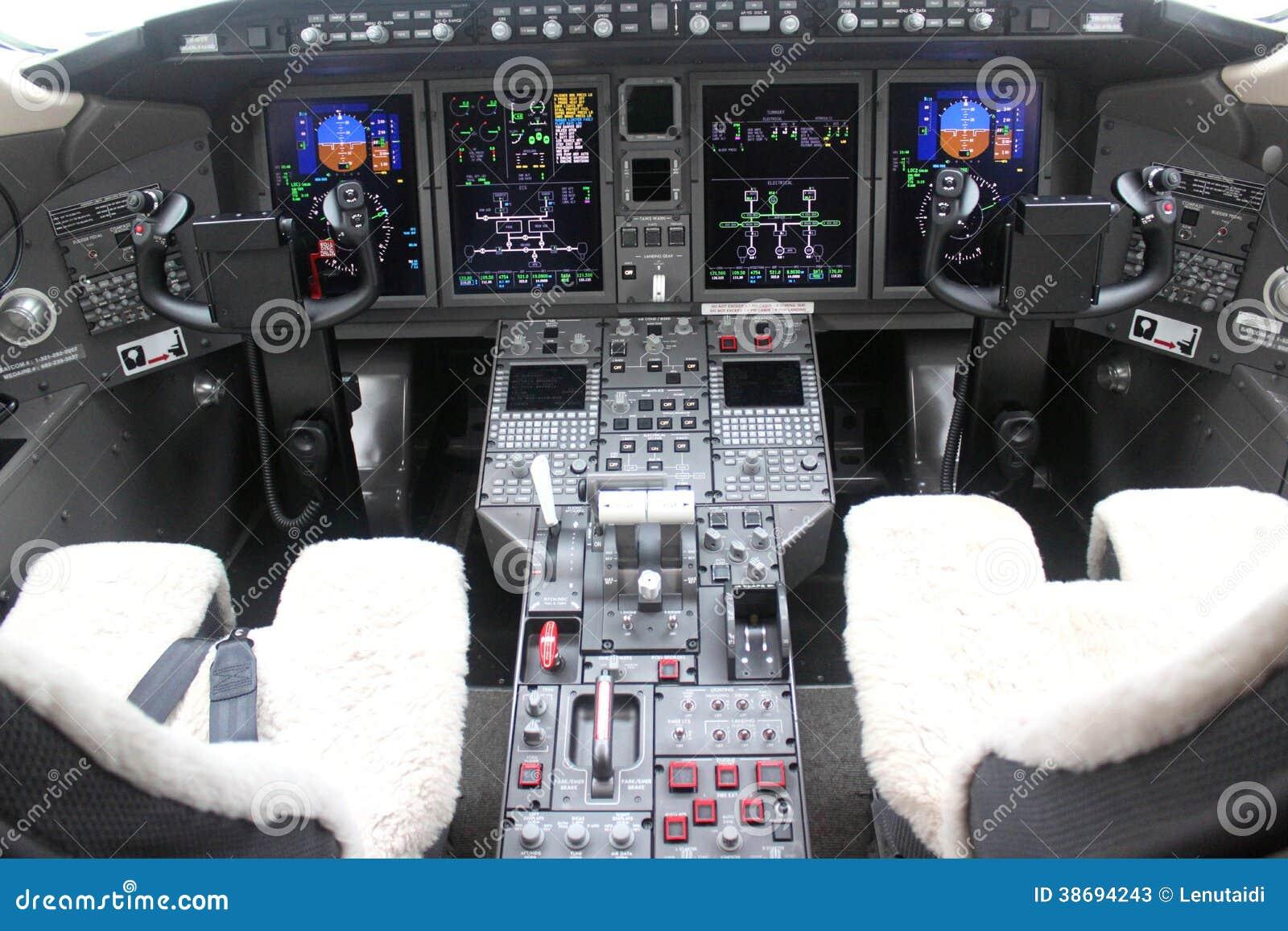 Cockpit en raad van een vliegtuig