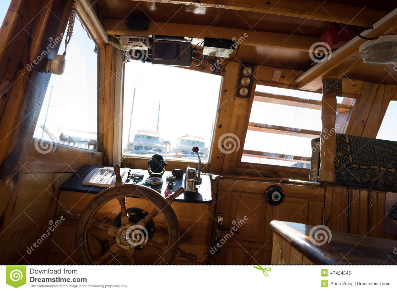 Cockpit Of Fishing Boat Stock Image Image Of Bridge 47424845