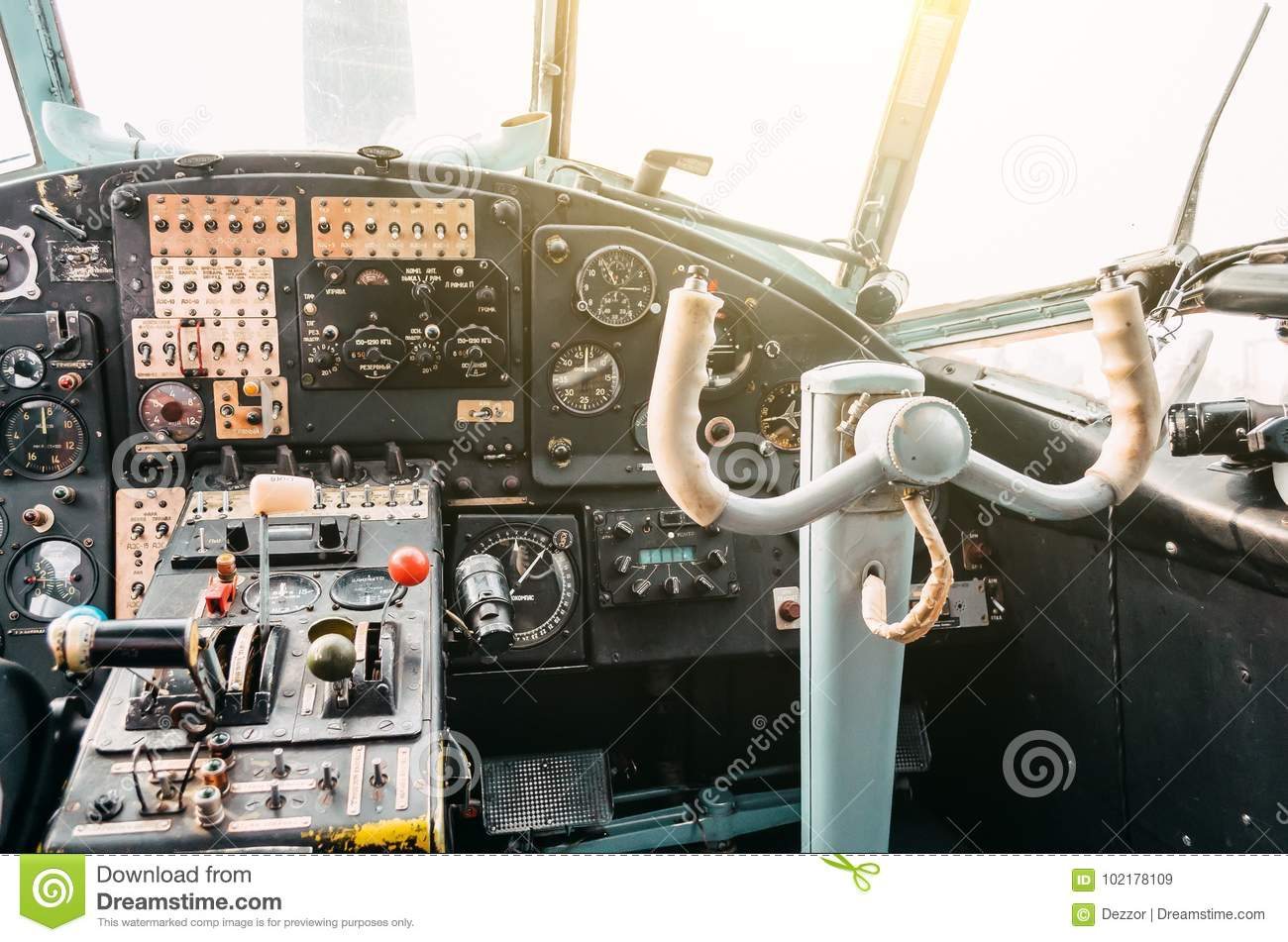 The Cockpit Of The Pilot Of The Old Turboprop Aircraft Of The