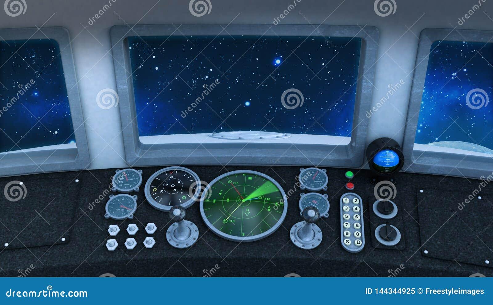Cockpit Of Retro UFO Spaceship In Deep Space, Vintage Spacecraft