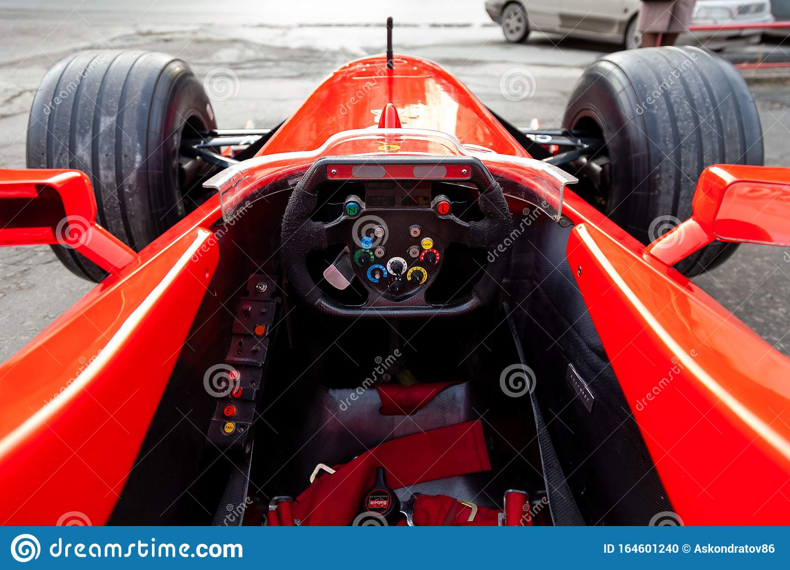 Cockpit And Steering Wheel View Of Red Ferrari Racing Sports Cars For Formula 1 On The Street Near The Garage Box Editorial Image Image Of Barrichello Motorized 164601240
