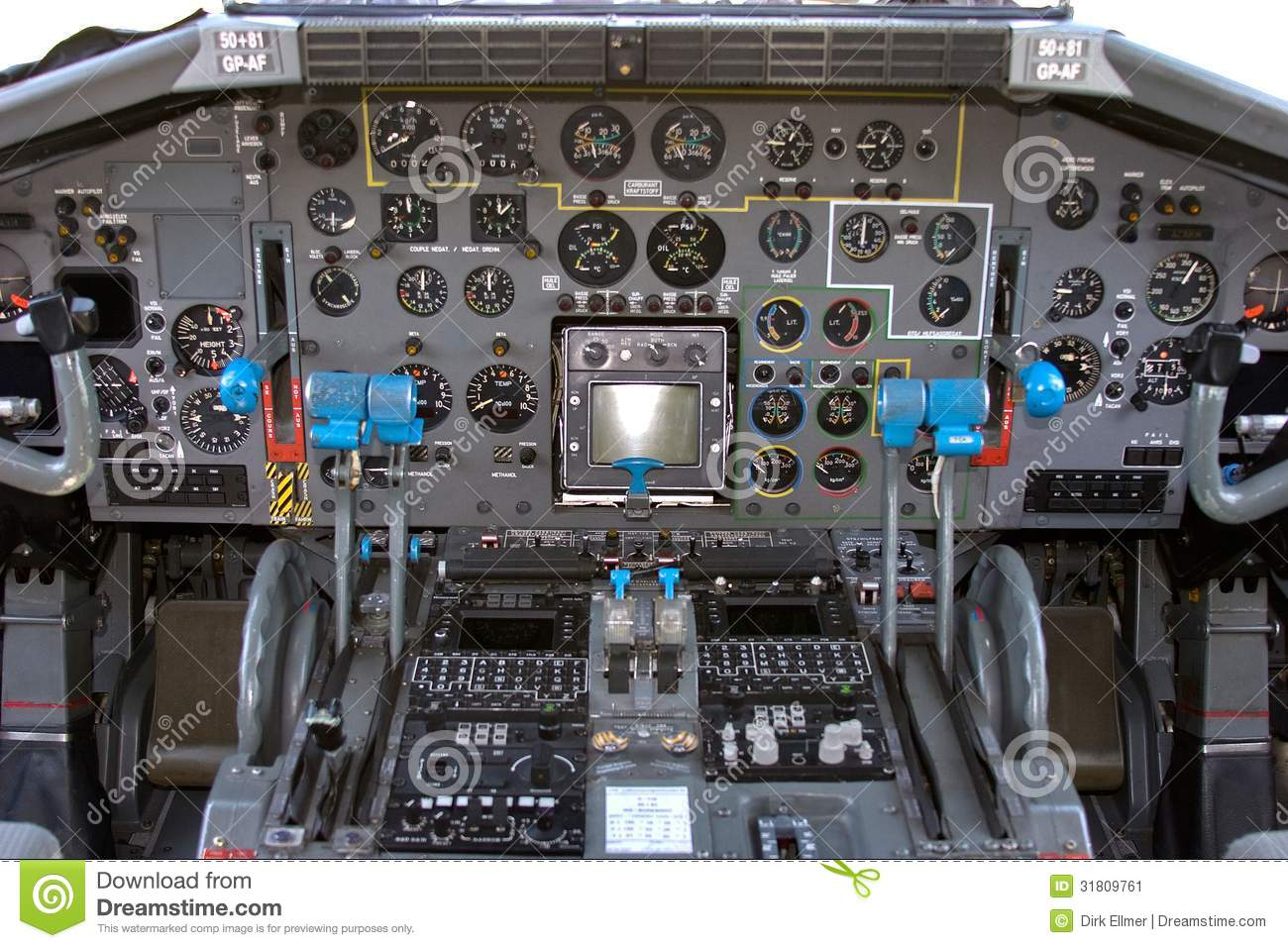 Cockpit of a Transall C-160 Transport Air plane German Air Force.