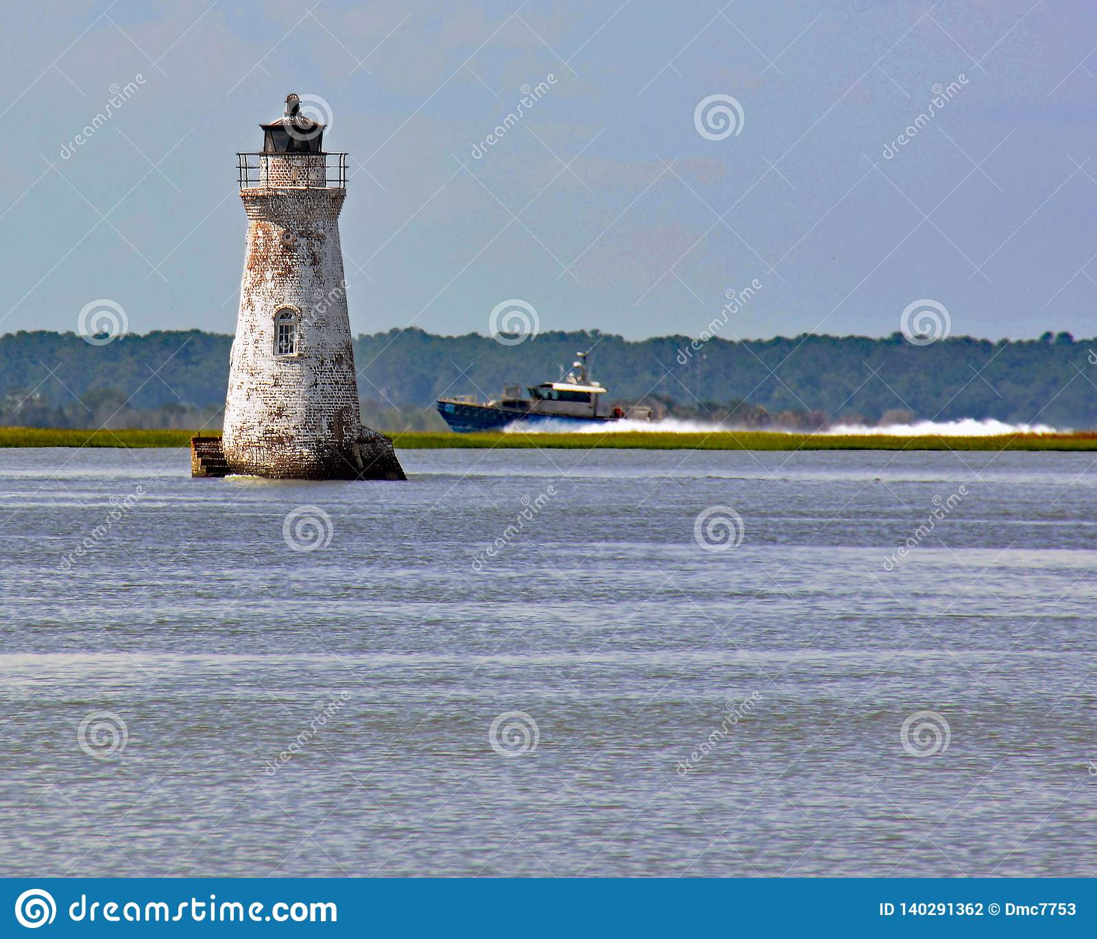 Cockspur Lighthouse on the Savannah River
