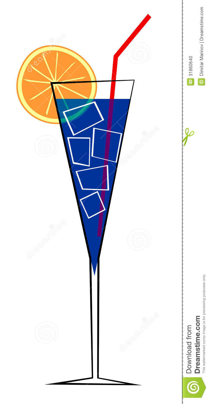 Abstract vector illustration of cocktail in glass