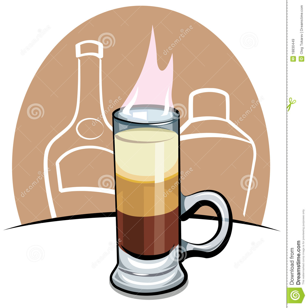 Cocktail B 52 Cartoon Vector