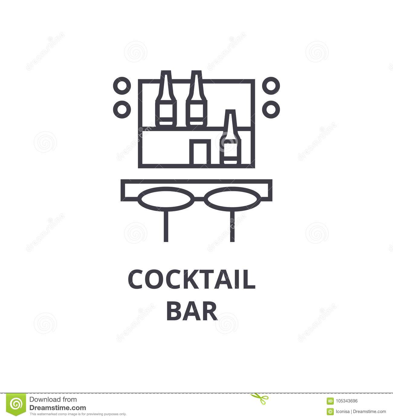 Download Cocktail Bar Line Icon, Outline Sign, Linear Symbol, Vector, Flat Illustration Stock Vector - Illustration of mojito, counter: 105343696