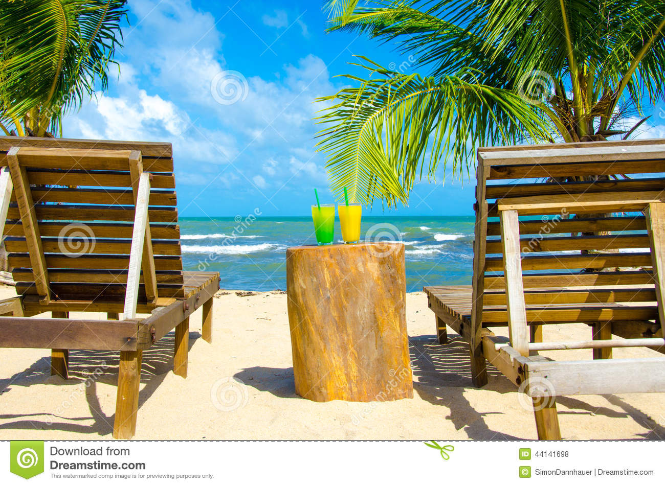 Cocktail And Chair Beautiful Beach Stock Image