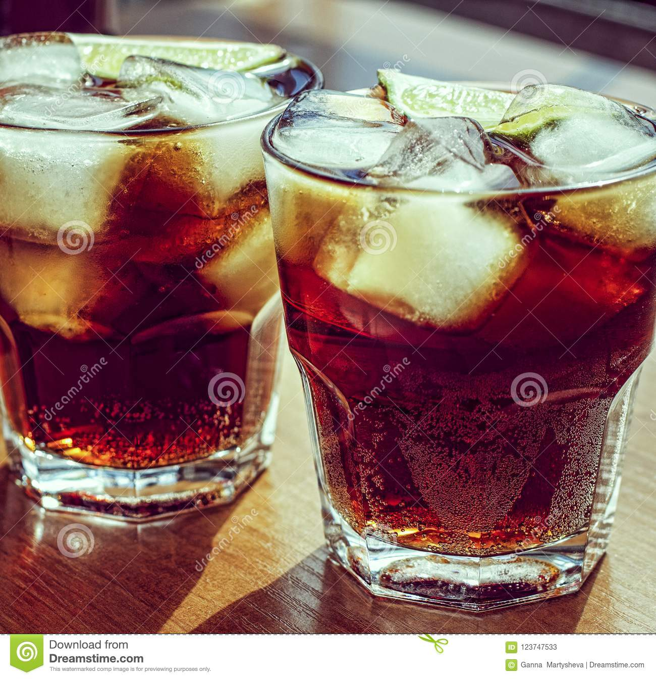 Summer drink, cube, cola, brown, drink, cocktail, rum, glass, ice, close up