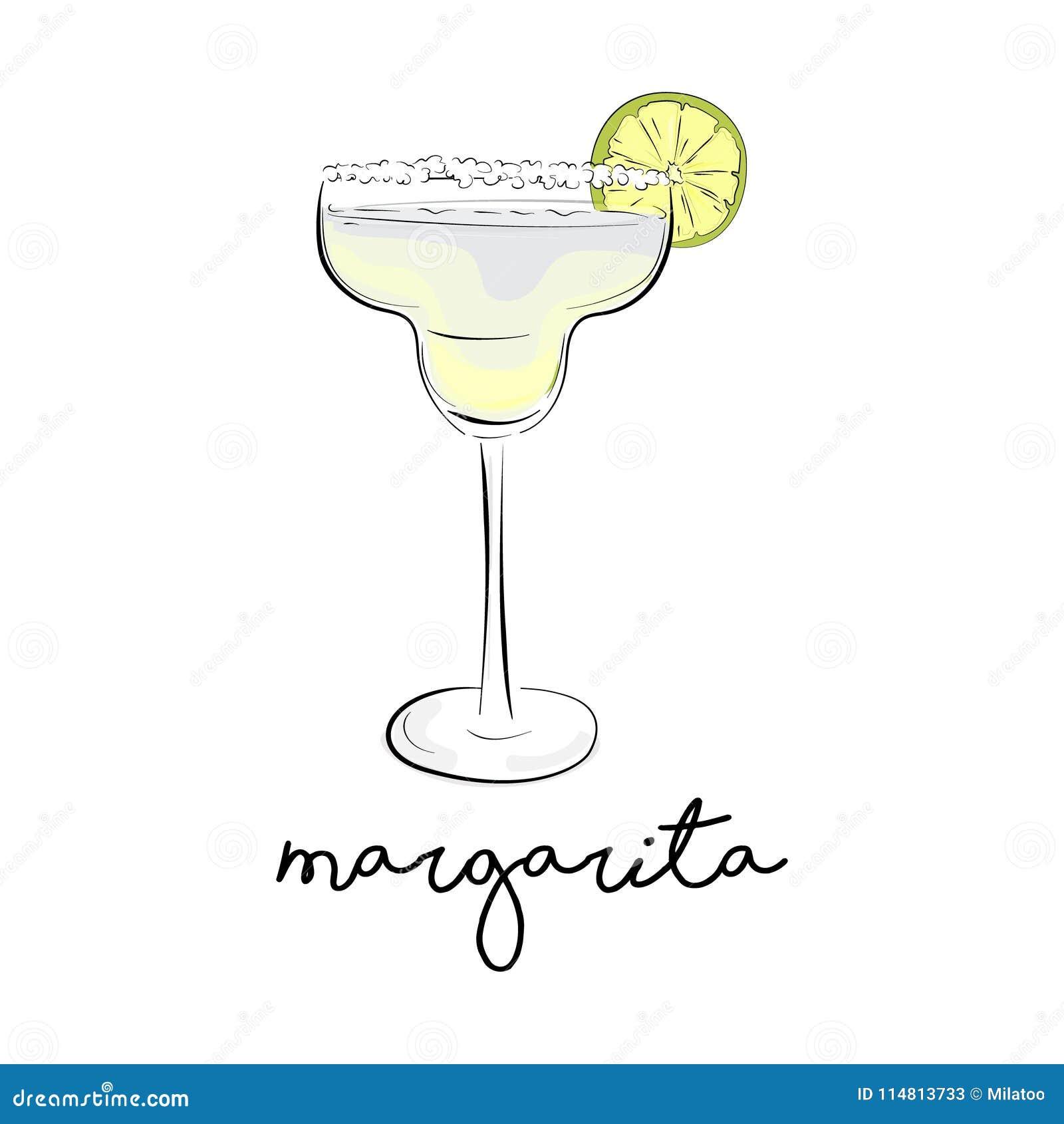 Cocktail d été de vecteur Boisson d alcool de margarita Cosmopolite froozen la boisson alcoolisée en verre Boisson verte de bar à