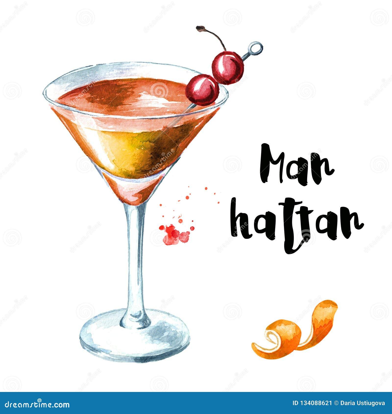 Cocktail de Manhattan avec la cerise et l illustration tirée par la main d aquarelle d entrain orange d isolement sur le fond bla