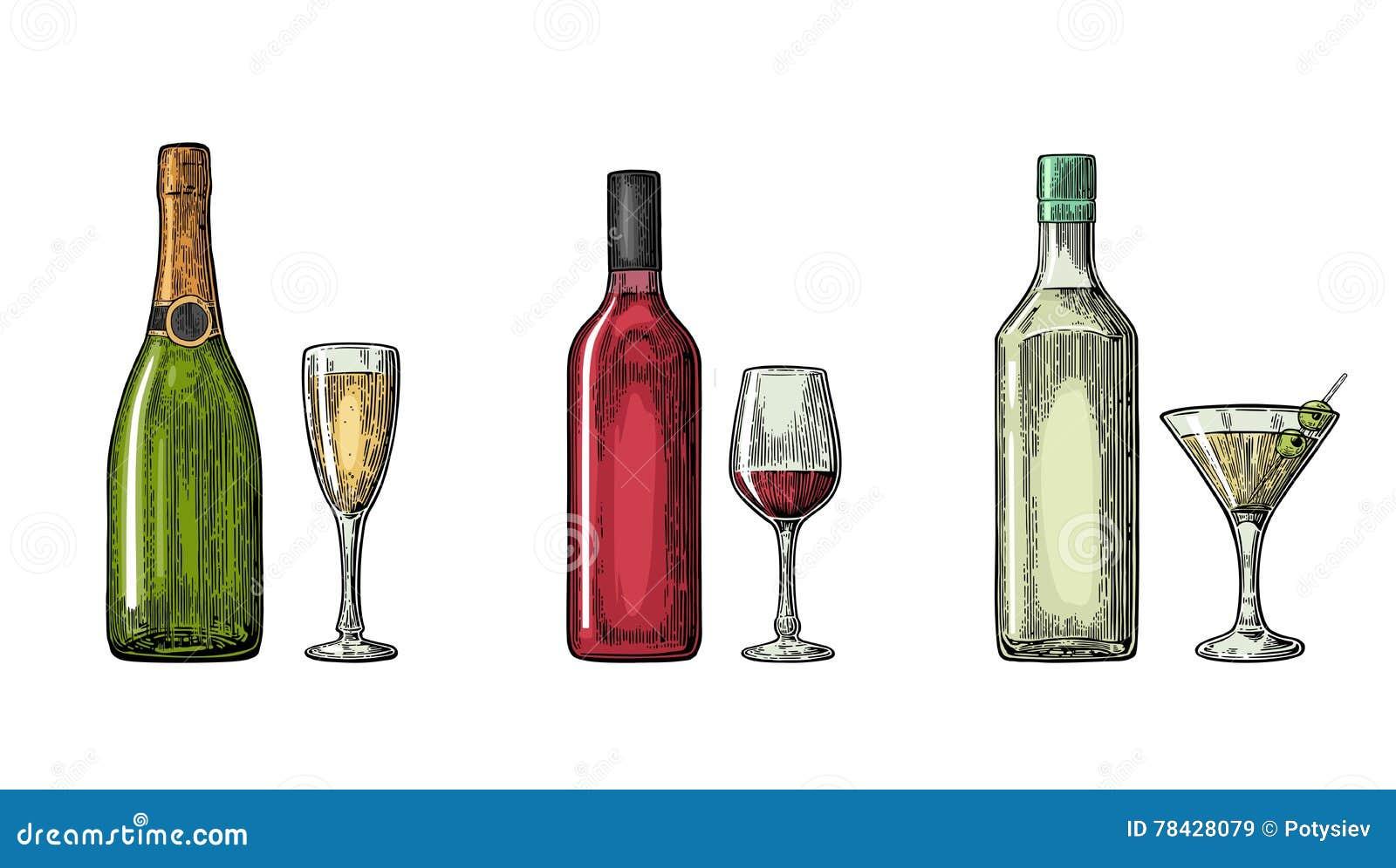 Cocktail di vetro e della bottiglia, liquore, vino, champagne