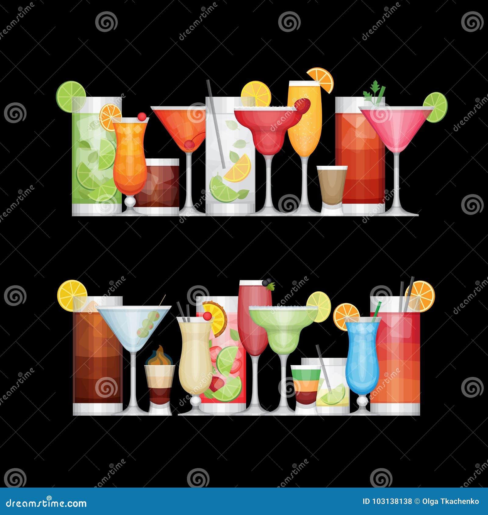 Cocktail différent d alcool sur le fond noir boissons
