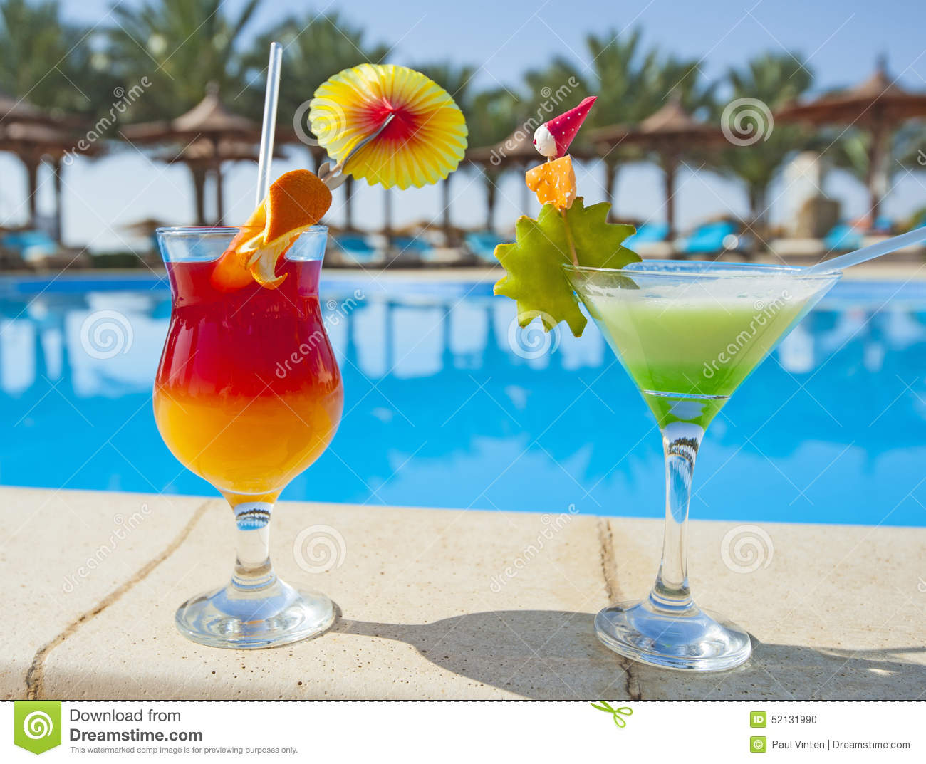 Cocktail Drinks By A Swimming Pool Stock Photo Image Of Stem Blue 52131990