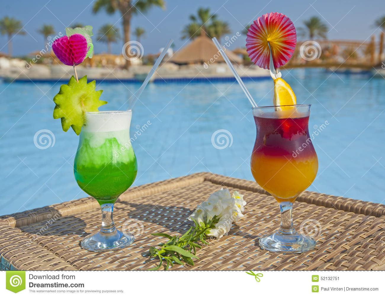 Cocktail Drinks By A Swimming Pool Stock Image Image Of Tropical Glass 52132751