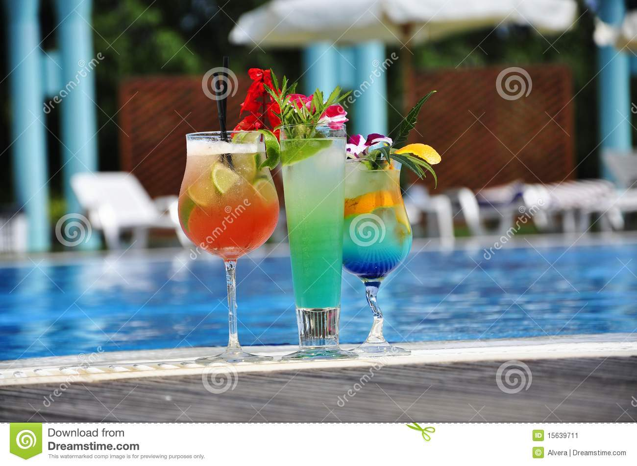 Stock Image Cocktail At The Edge Of Pool Image 15639711