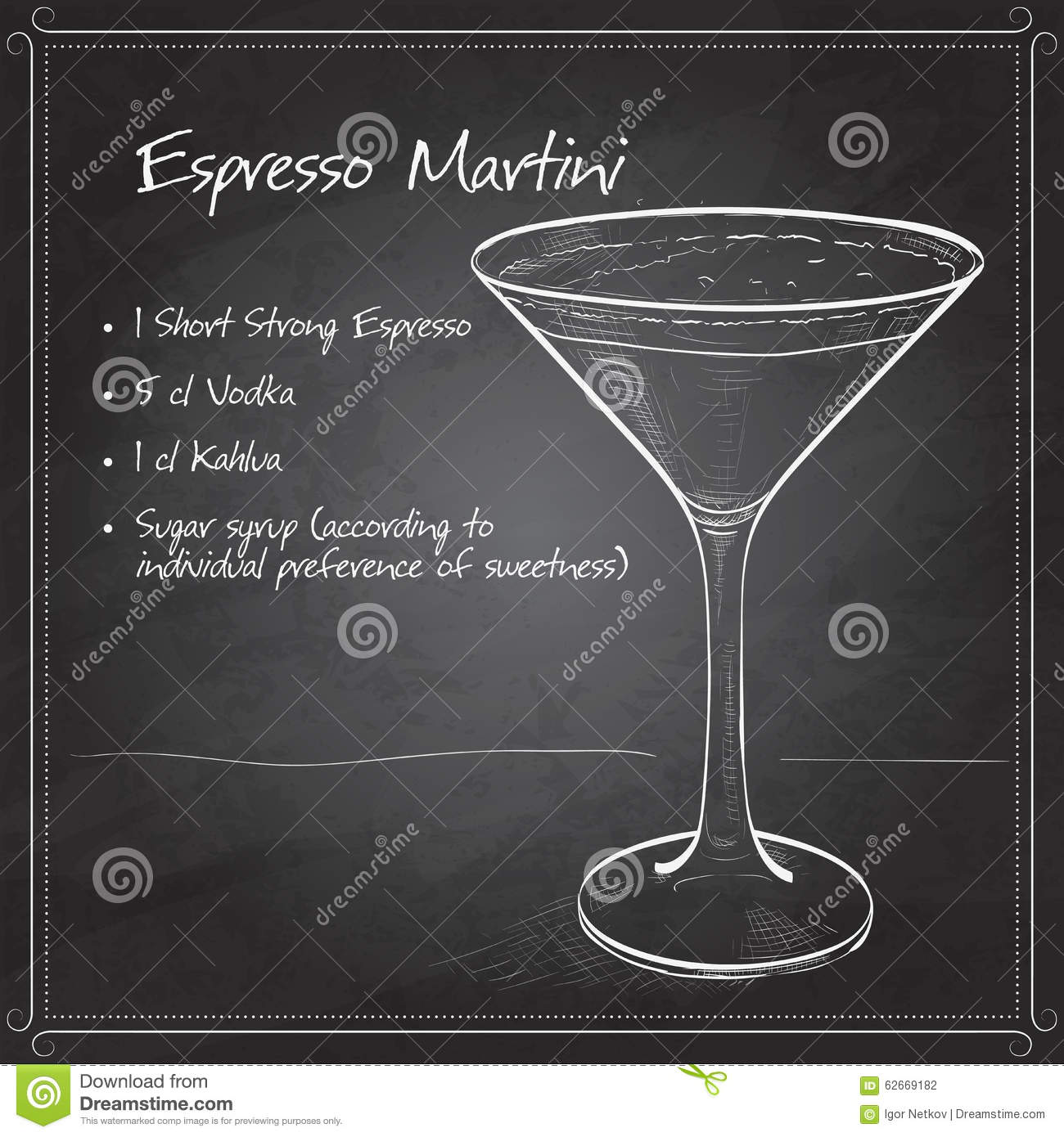 Cocktail Espresso Martini Stock Vector Illustration Of Cold 62669182