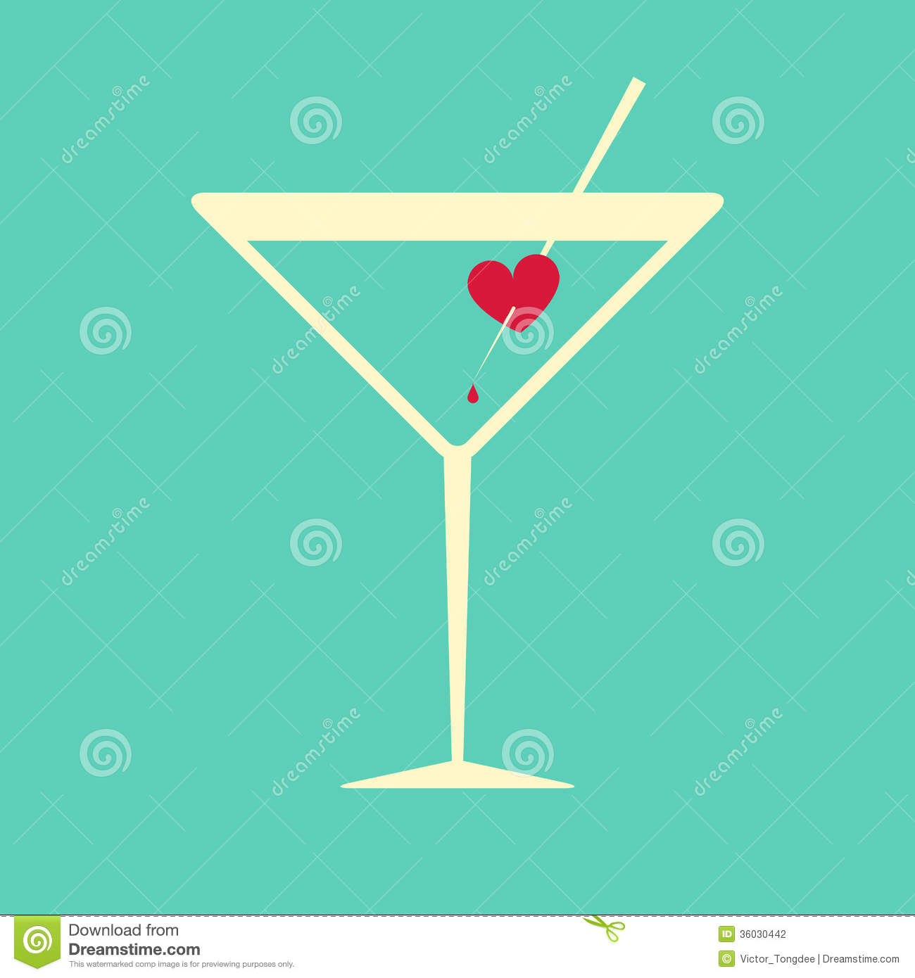 Cocktail glass garnished with a bleeding heart stock vector cocktail glass garnished with a bleeding heart buycottarizona
