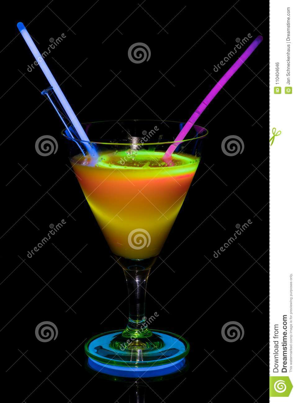 Cocktail glass with neon light.
