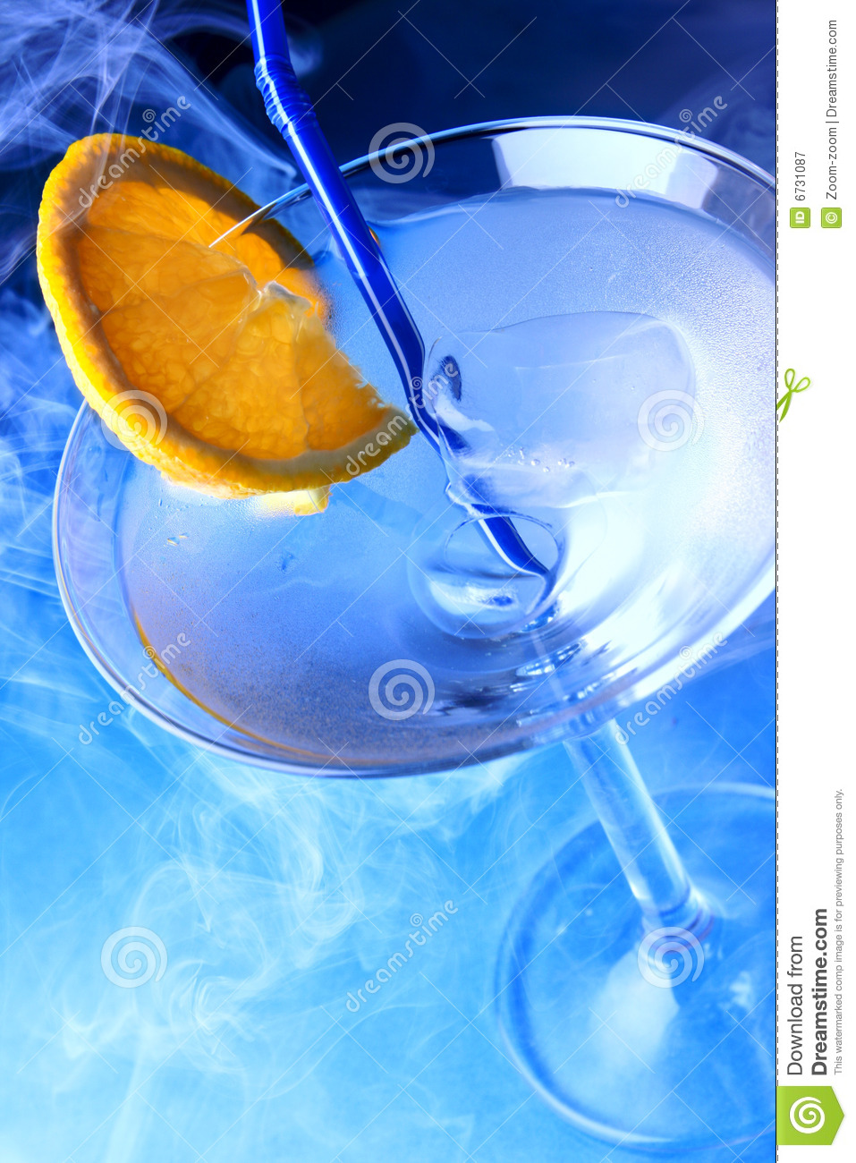 Cocktail glass with orange slice royalty free stock for Orange and blue cocktails