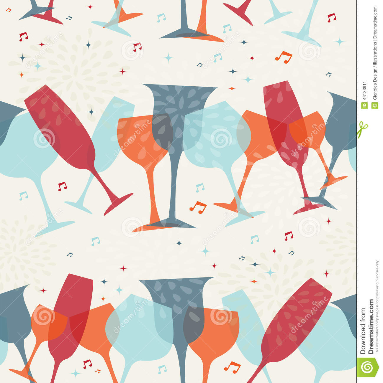 cocktail glass seamless pattern background stock vector